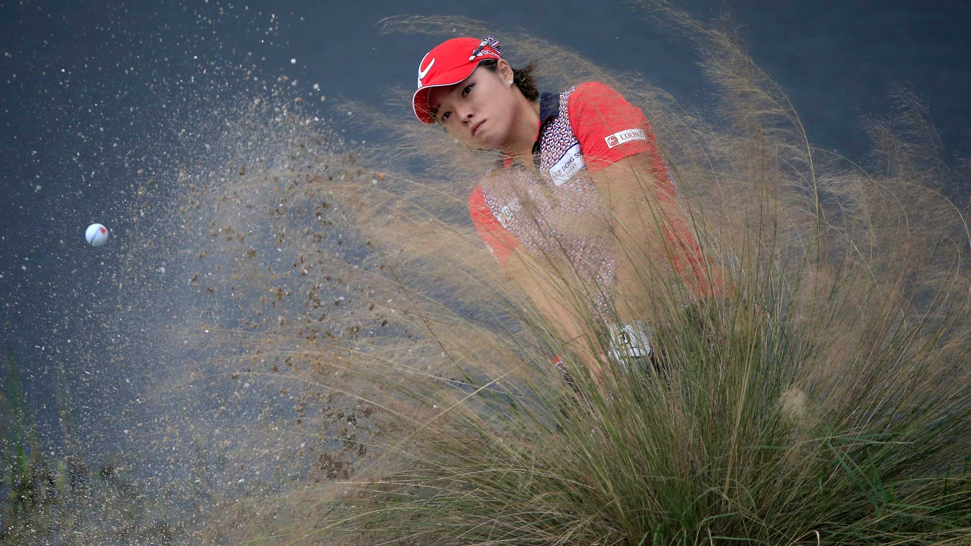 Ha Na Jang of South Korea plays a shot on the 18th hole during the third round of the CME Group Tour Championship at Tiburon Golf Club