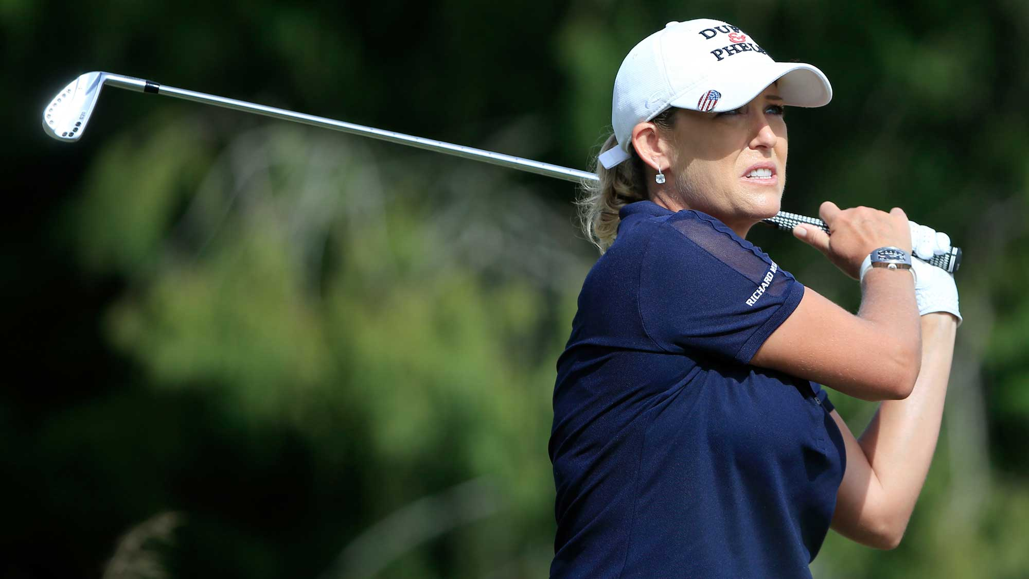 Cristie Kerr of the United States plays a shot on the fifth tee during the final round of the CME Group Tour Championship at Tiburon Golf Club