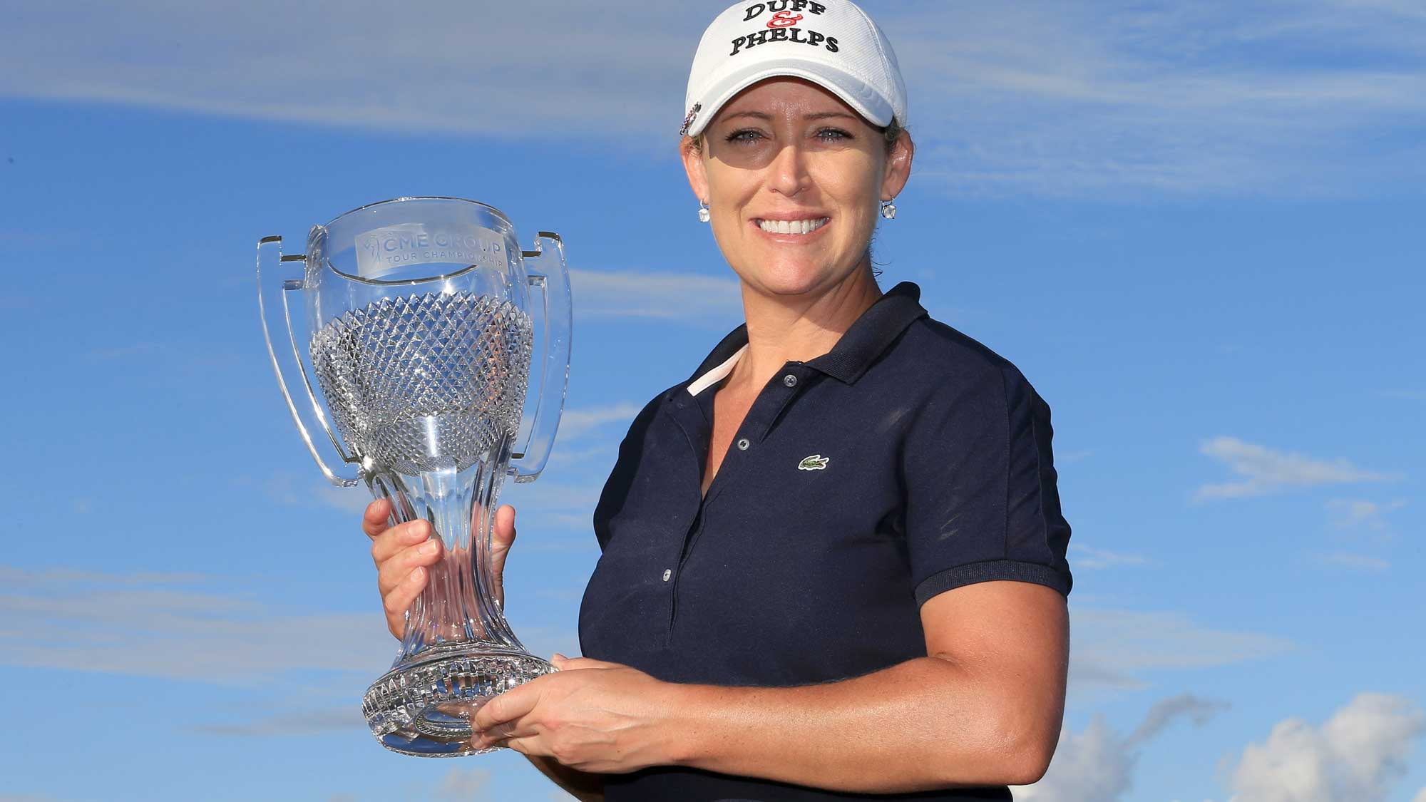 Cristie Kerr of the United States poses with the CME Tour Championship trophy during the final round of the CME Group Tour Championship at Tiburon Golf Club