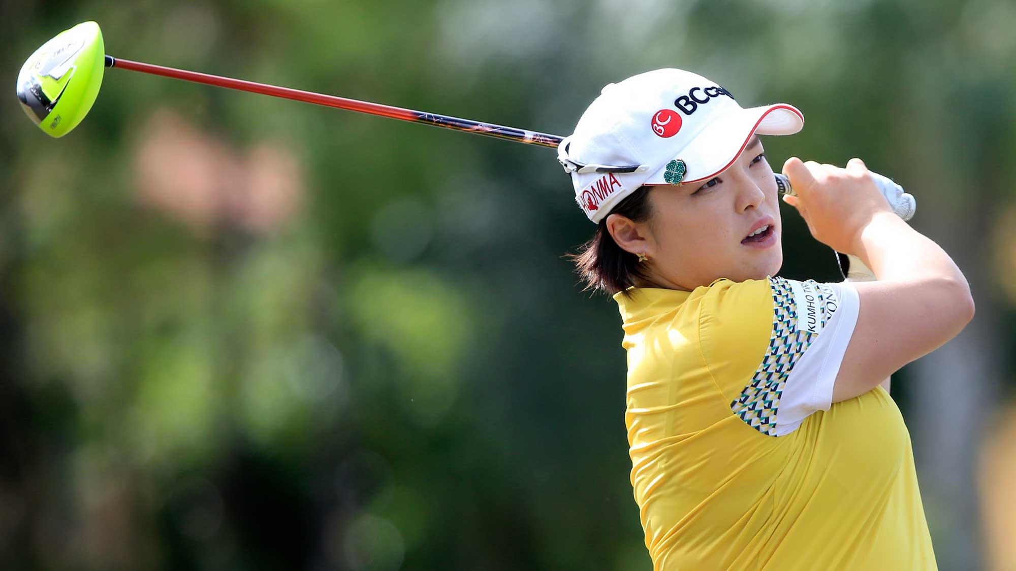 Ha Na Jang of South Korea plays a shot on the 4th hole during the final round of the CME Group Tour Championship at Tiburon Golf Club