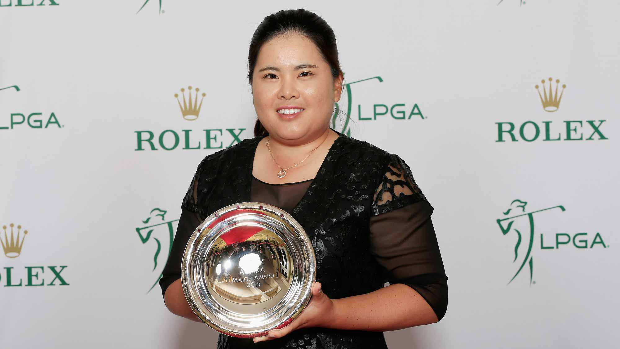 Inbee Park of South Korea poses with the Rolex Annika Major Award during the LPGA Rolex Players Awards at the Ritz-Carlton, Naples