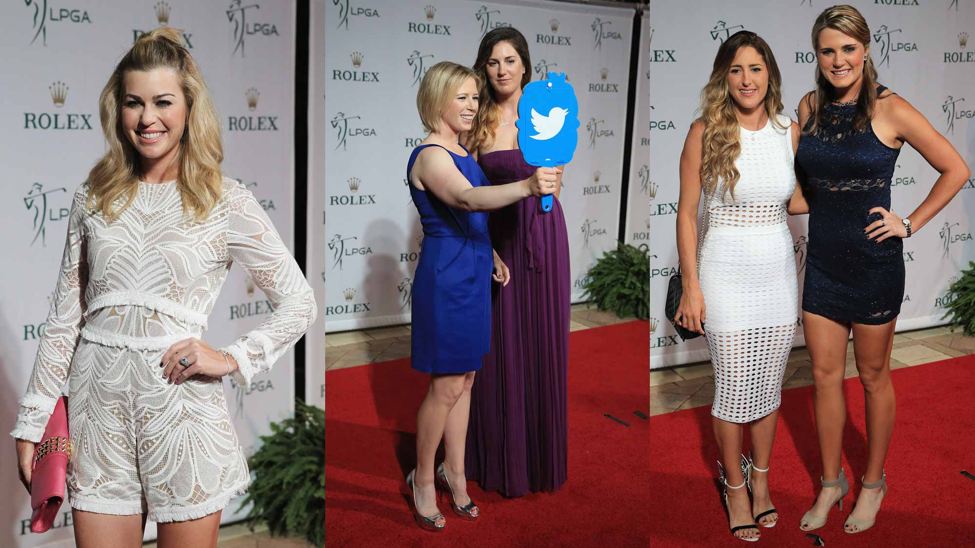 Left to Right: Paula Creamer, Morgan Pressel, Sandra Gal, Jaye Marie Green, and Lexi Thompson pose on the red carpet before the LPGA Rolex Players Awards at the Ritz-Carlton, Naples