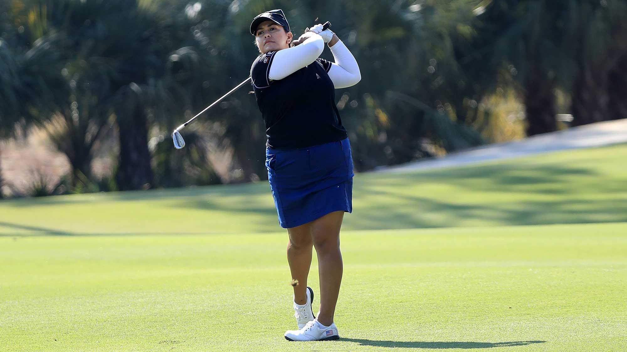 Lizette Salas plays her shot on the second hole during the third round of the CME Group Tour Championship
