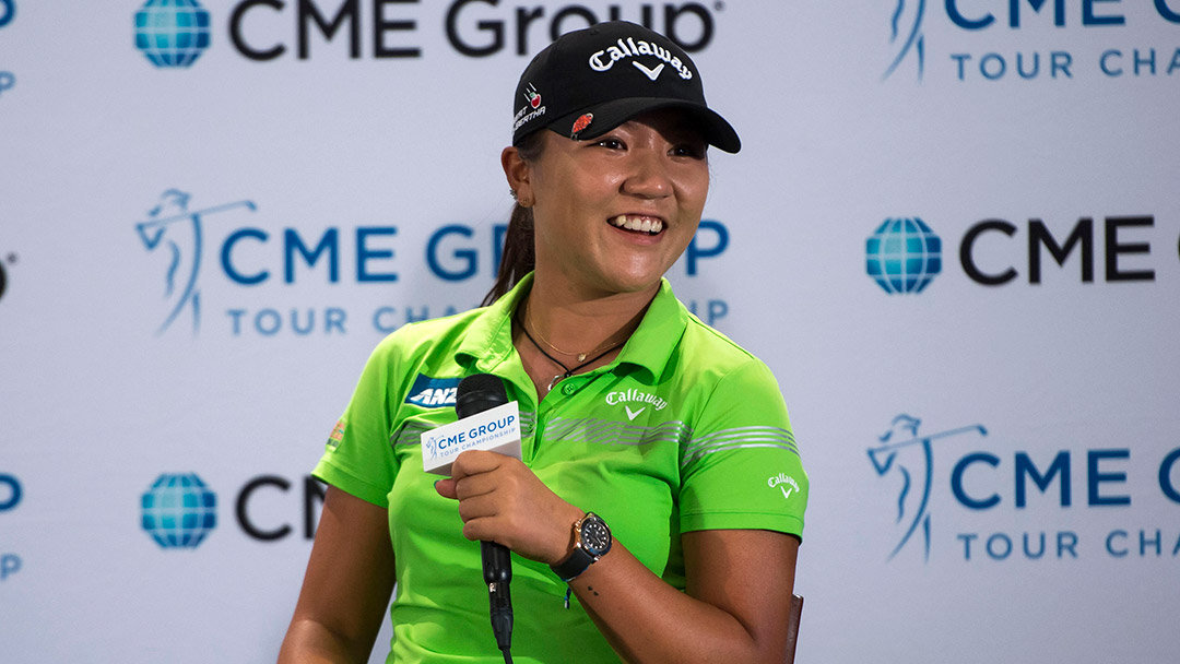 Lydia Ko talks with the media during her pre-tournament press conference at the 2016 CME Group Tour Championship