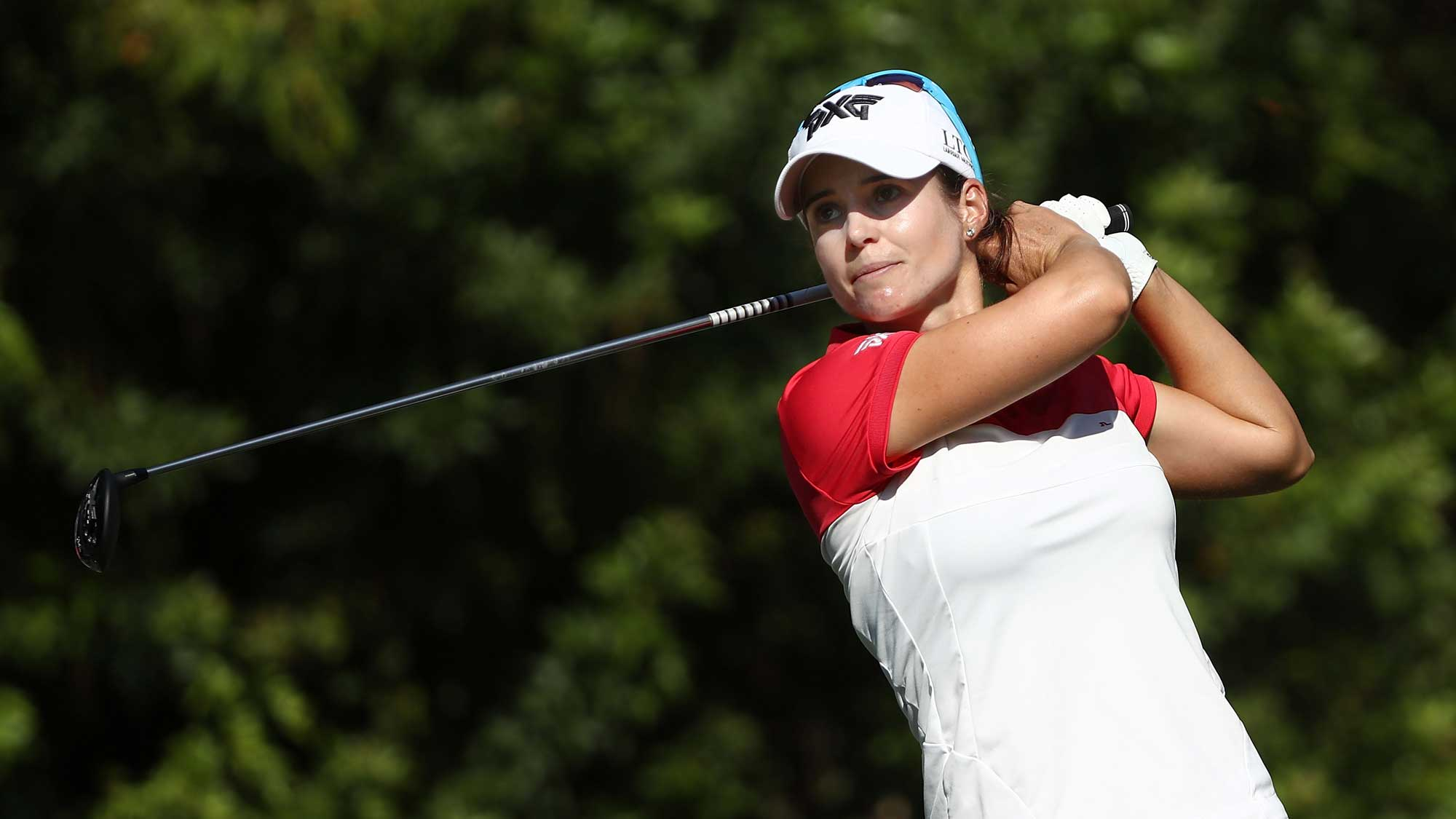 Beatriz Recari of Spain tees off on the seventh hole during the first round of the CME Group Tour Championship at Tiburon Golf Club