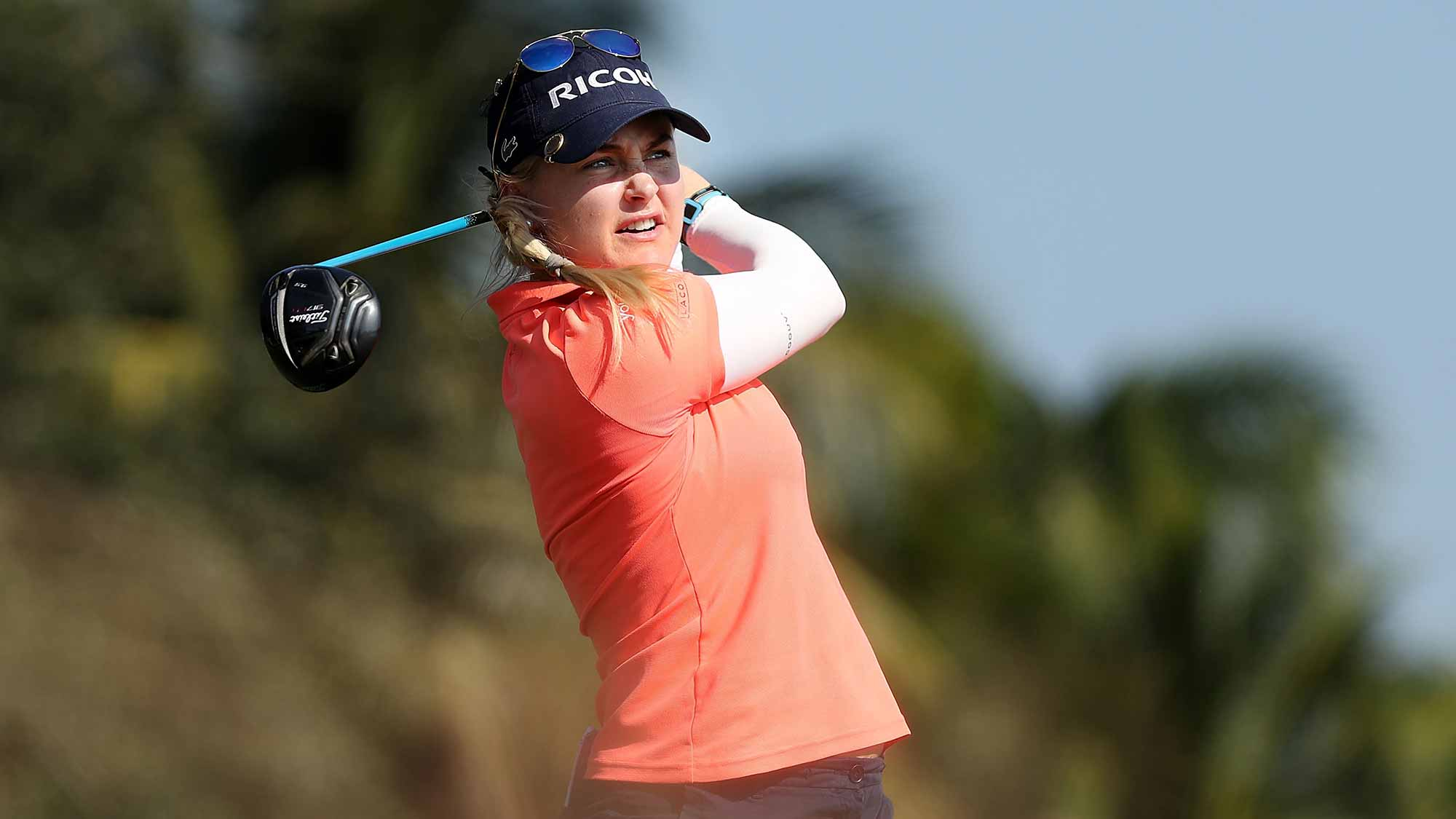 Charley Hull of England plays her shot on the 18th tee during the first round of the CME Group Tour Championship at Tiburon Golf Club