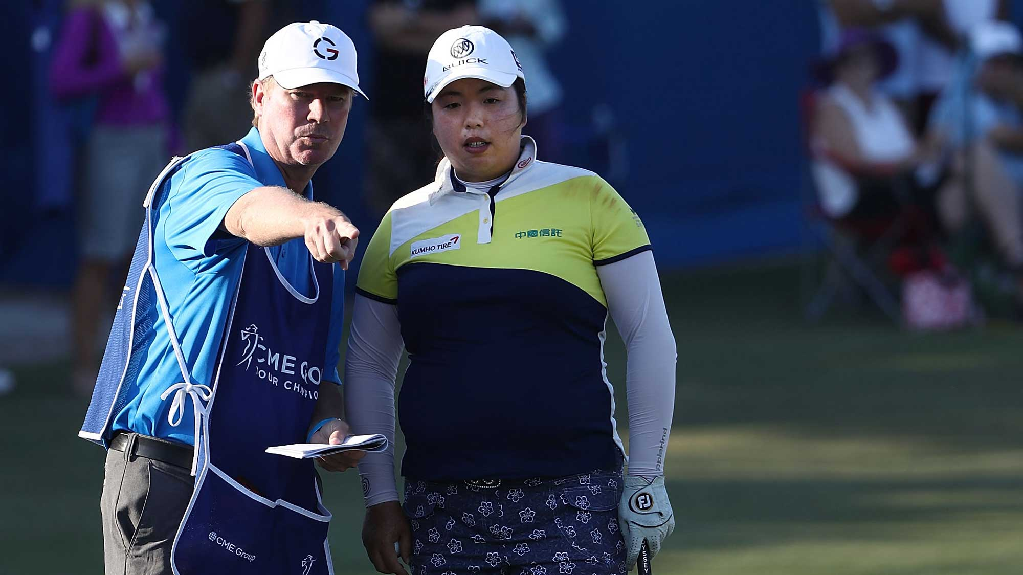 Shanshan Feng of China prepares to play her shot on the second hole during the first round of the CME Group Tour Championship at Tiburon Golf Club