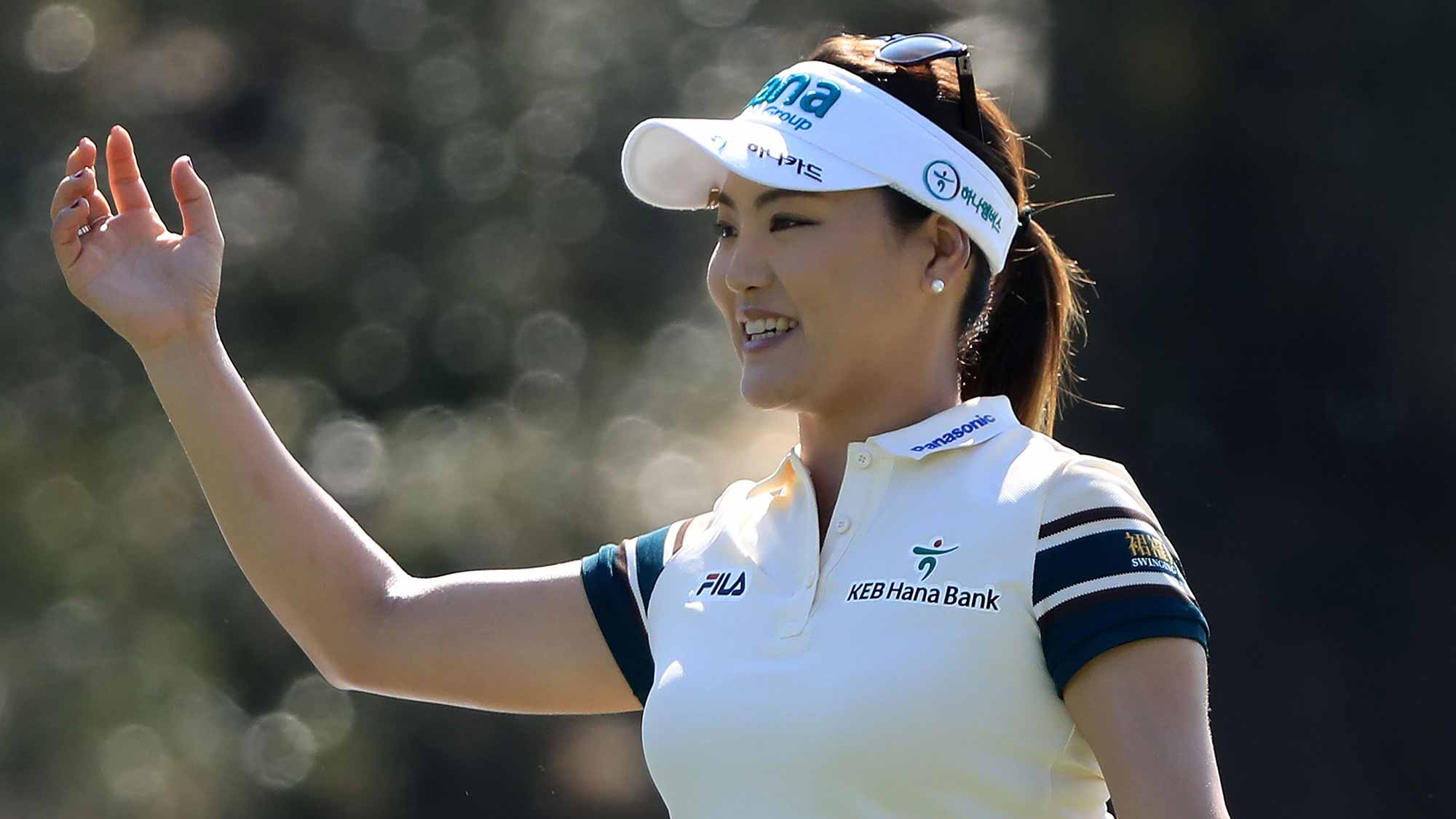 So Yeon Ryu of South Korea reacts to her shot on the second hole during the second round of the CME Group Tour Championship at Tiburon Golf Club