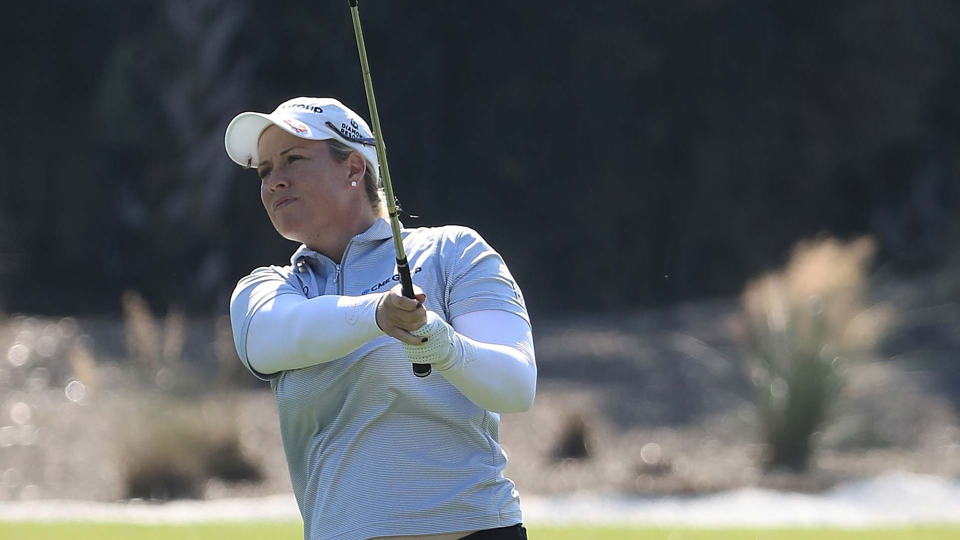 Brittany Lincicome plays her shot on the second hole during the third round of the CME Group Tour Championship