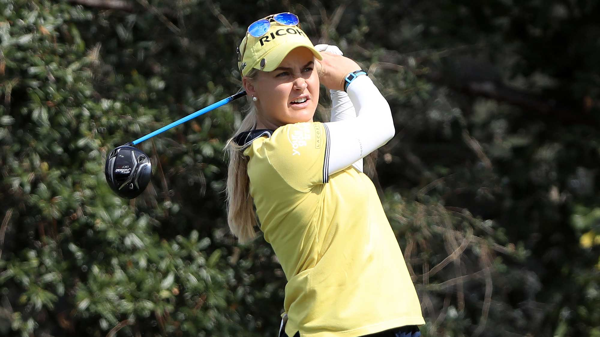 Charley Hull of England tees off on the sixth hole during the third round of the CME Group Tour Championship