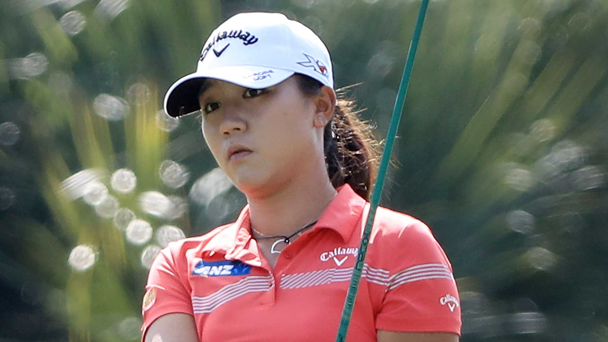 Lydia Ko of New Zealand plays her shot on the second hole during the third round of the CME Group Tour Championship