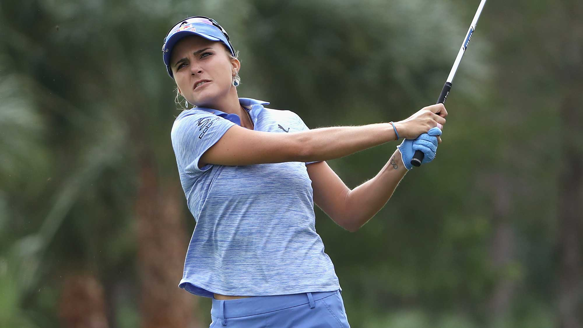 Lexi Thompson of the United States plays a shot on the second hole during round one of the CME Group Tour Championship