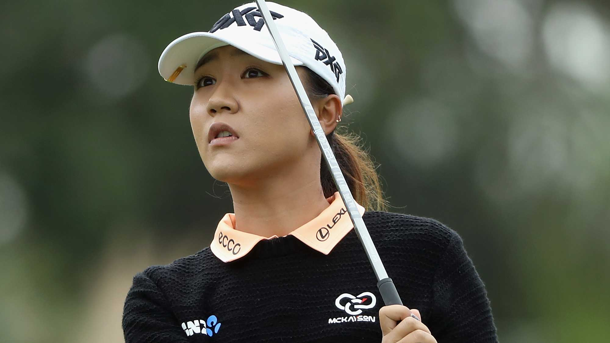Lydia Ko of New Zealand plays a shot on the second hole during round one of the CME Group Tour Championship