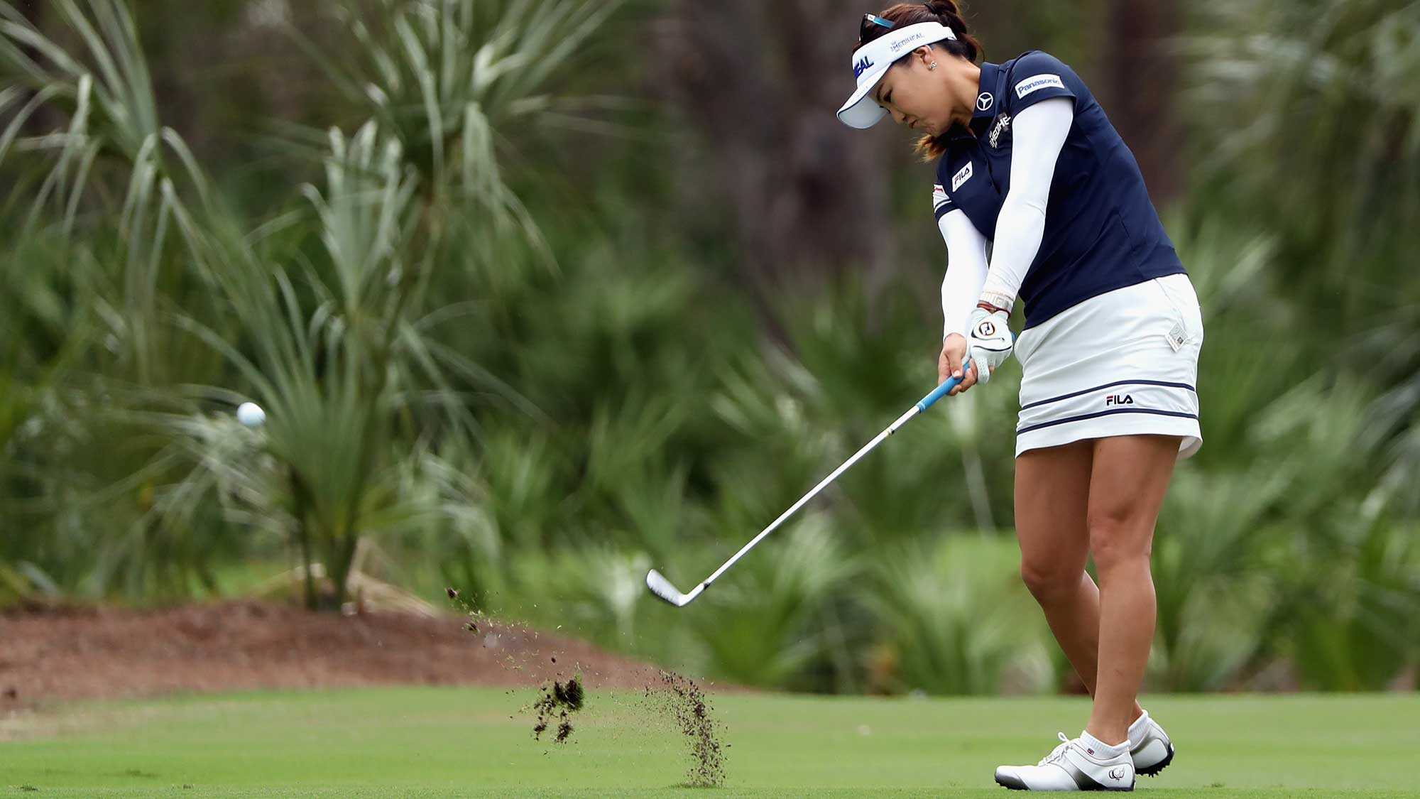 So Yeon Ryu of Korea plays a shot on the second hole during round one of the CME Group Tour Championship