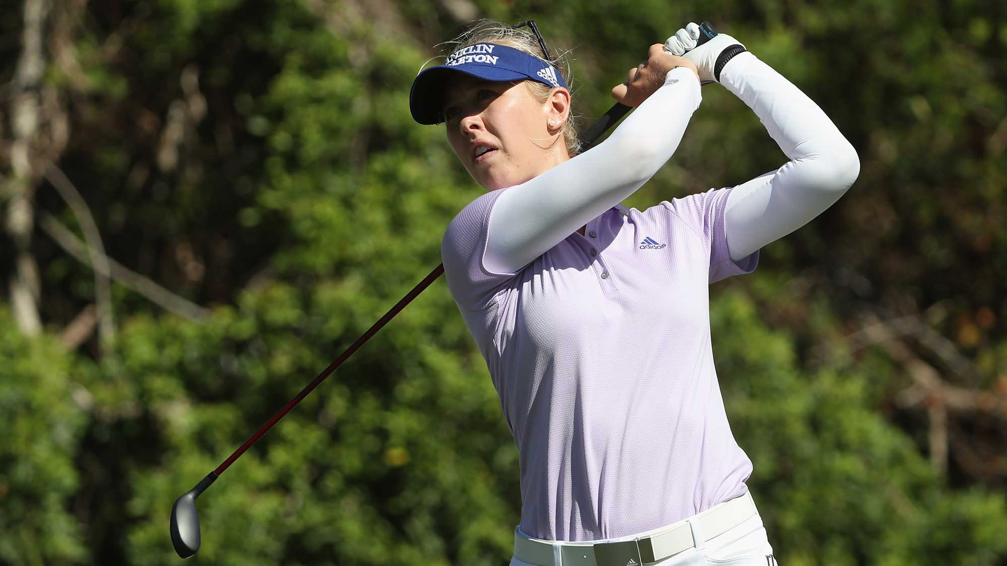 Jessica Korda of the United States plays a shot on the second hole during round two of the CME Group Tour Championship