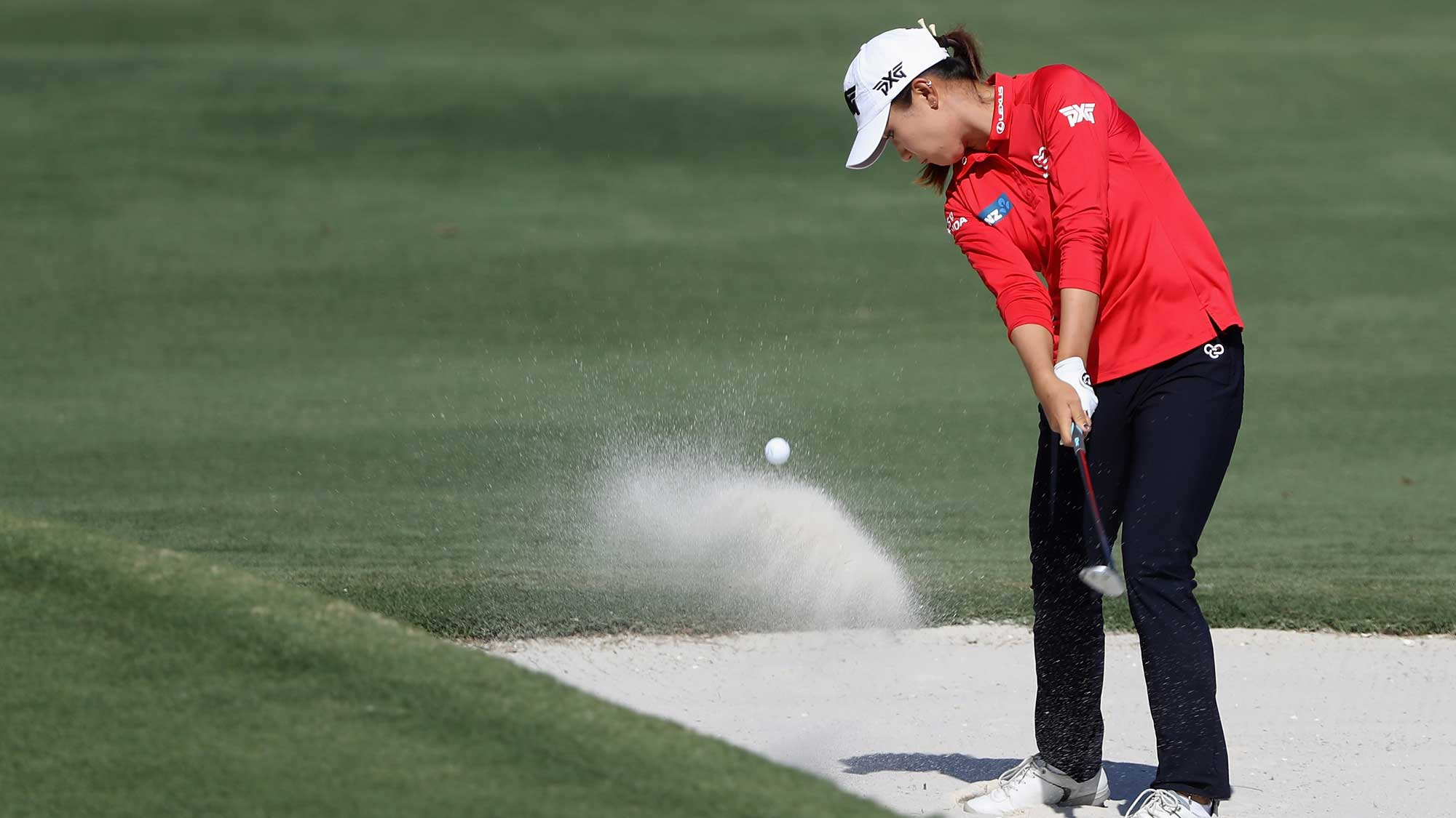 Lydia Ko of New Zealand plays a shot from a bunker on the sixth hole during round two of the CME Group Tour Championship
