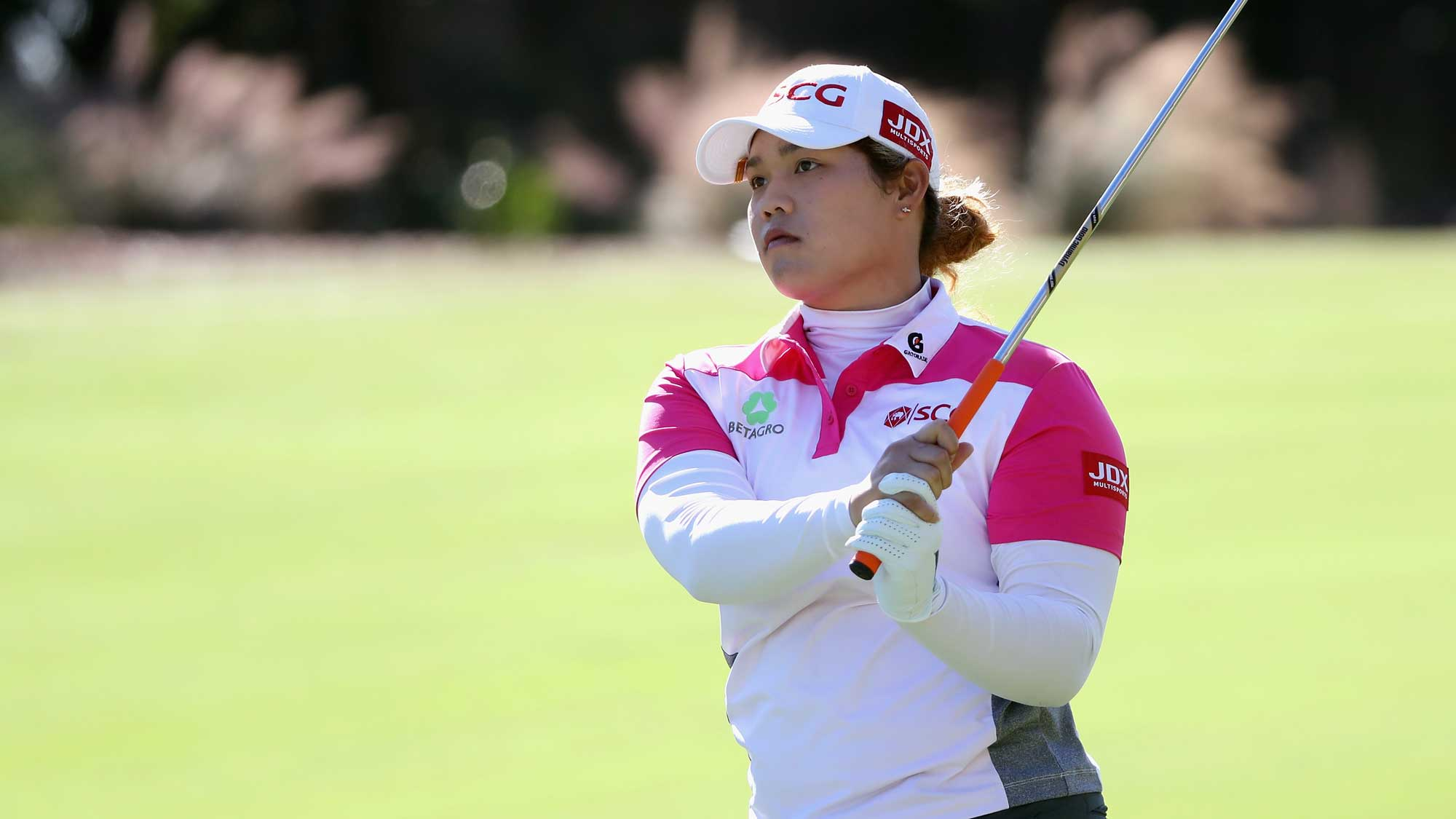 Ariya Jutanugarn of Thailand plays a shot on the second hole during round three of the CME Group Tour Championship
