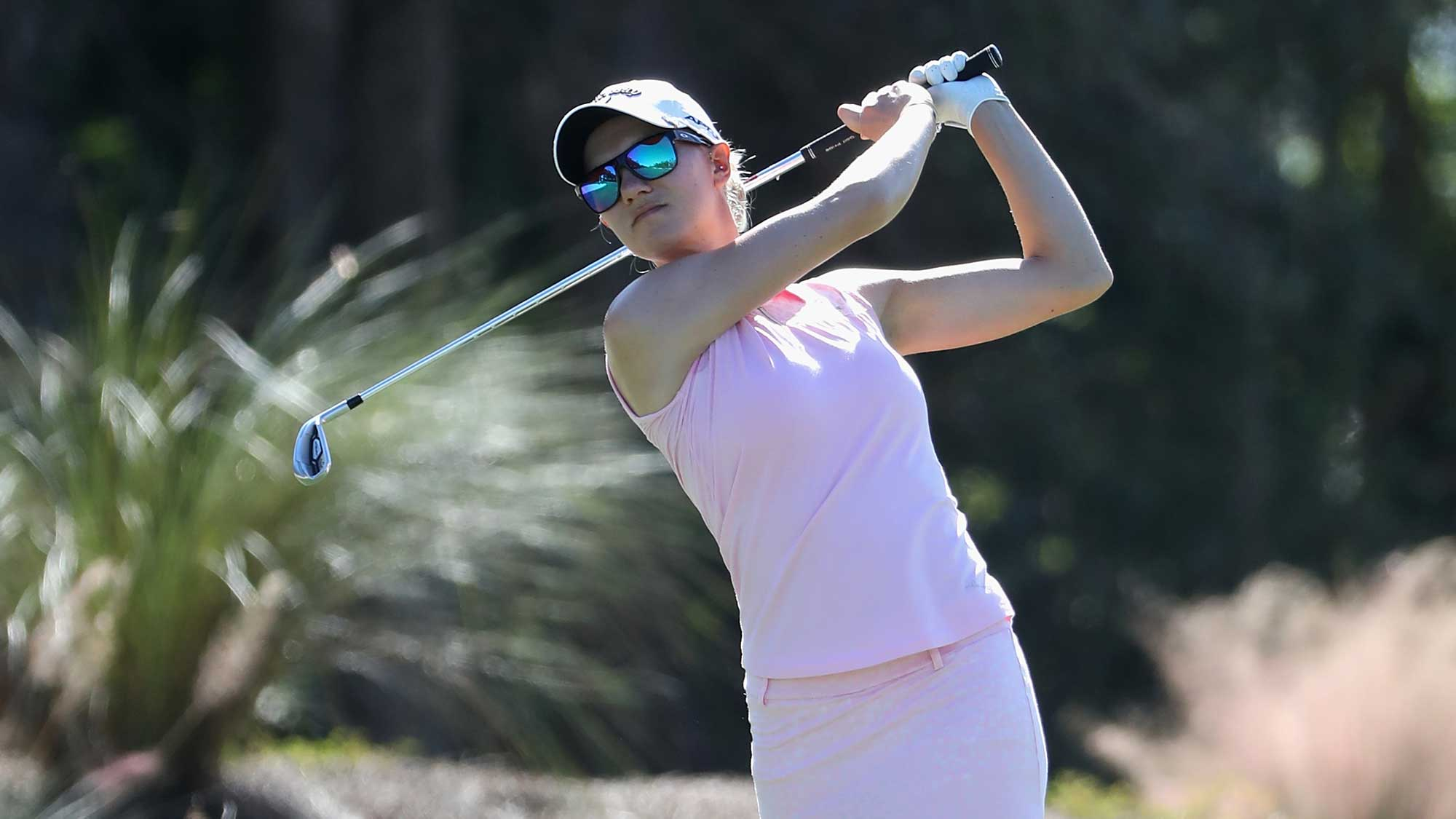 Madelene Sagstrom of Sweden plays a shot on the second hole during round three of the CME Group Tour Championship