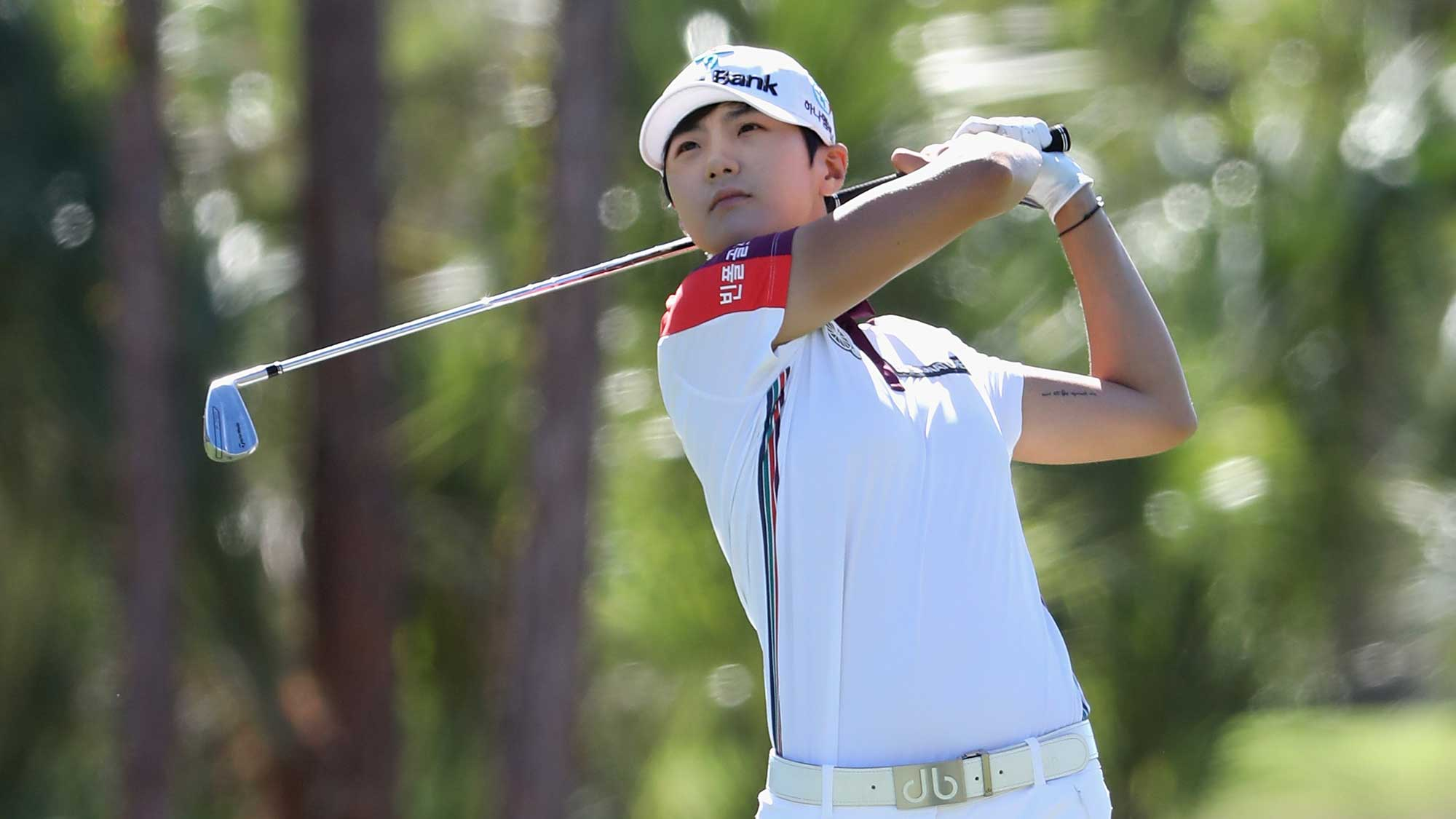 Sung Hyun Park of Korea plays a shot on the second hole during round three of the CME Group Tour Championship
