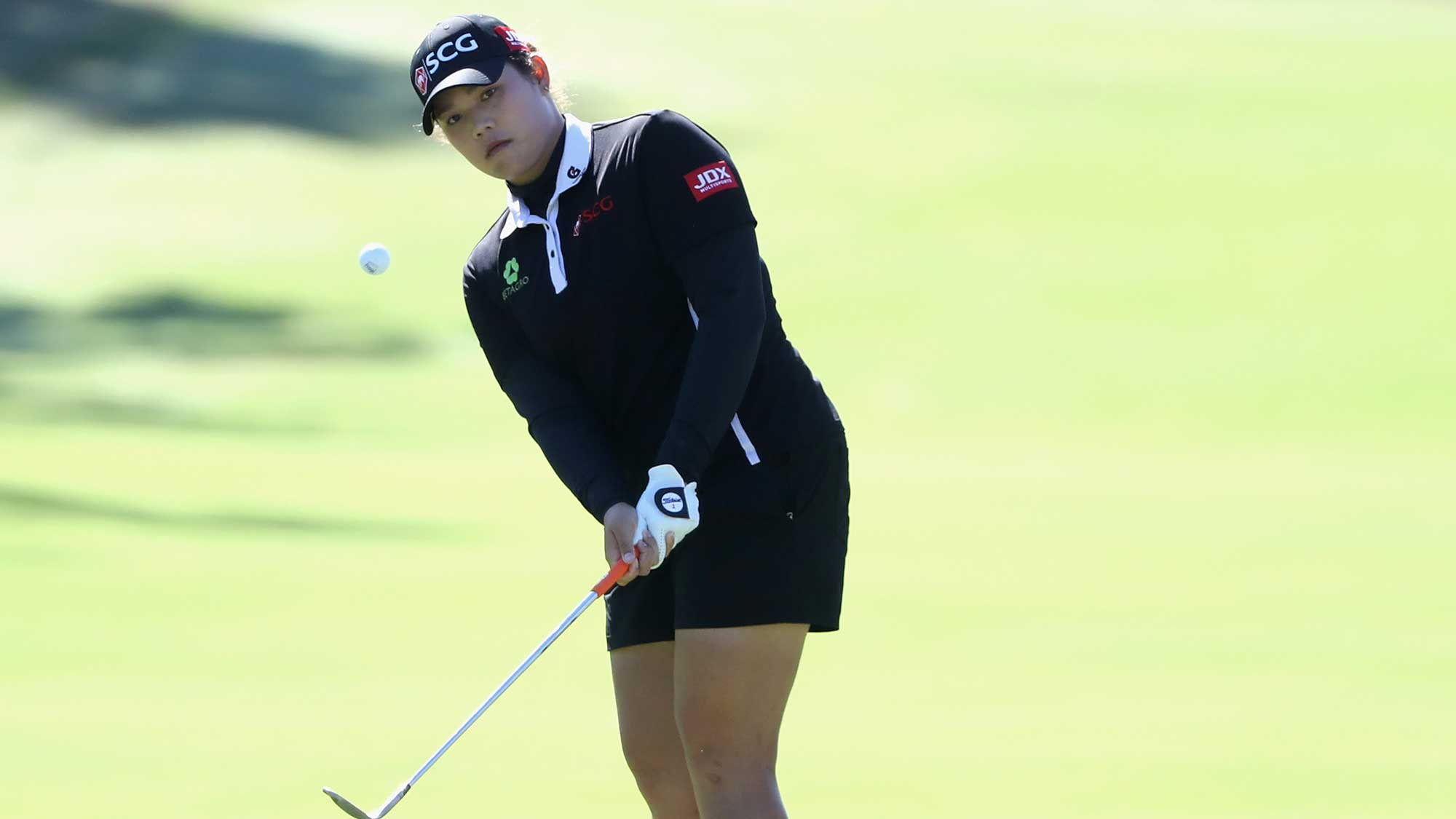 Ariya Jutanugarn of Thailand plays a shot on the second hole during the final round of the CME Group Tour Championship