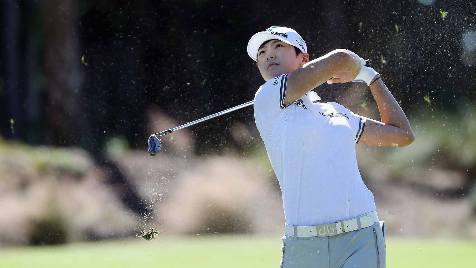Sung Hyun Park of Korea plays a shot on the second hole during the final round of the CME Group Tour Championship