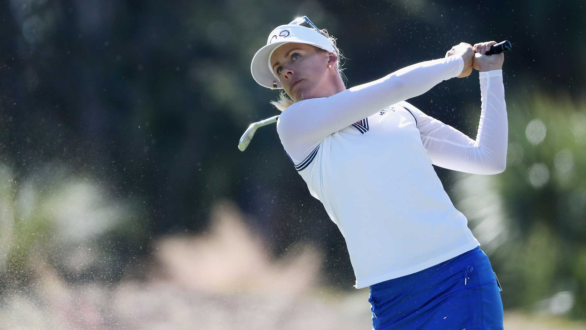 Pernilla Lindberg of Sweden plays a shot on the second hole during the final round of the CME Group Tour Championship