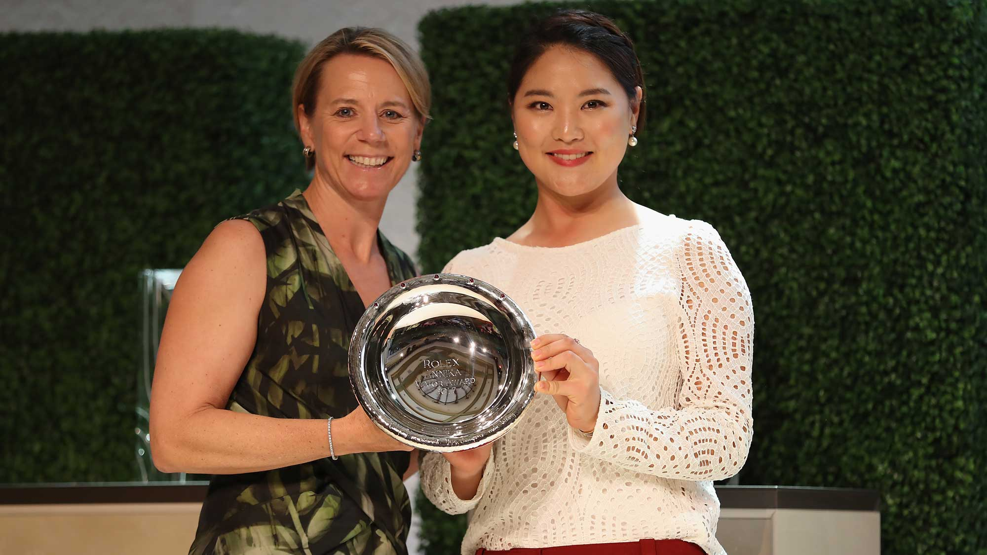 So Yeon Ryu of Korea (R) poses with Annika Sorenstam after receiving the Rolex ANNIKA Major Award during the LPGA Rolex Players Awards at The Ritz-Carlton Golf Resort on November
