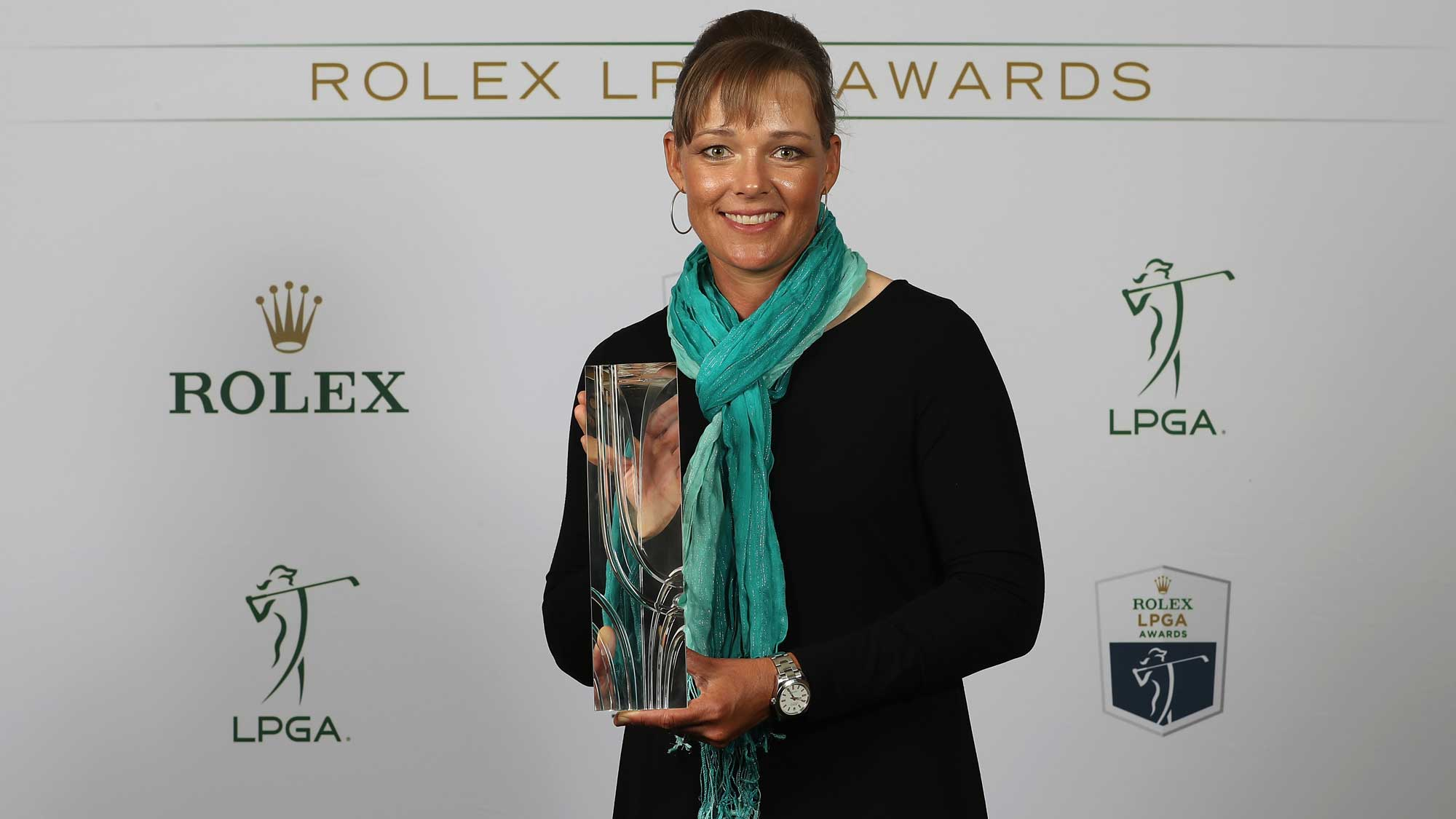 William and Mousie Powell Award recipient Katherine Kirk of Australia poses for a portrait during the LPGA Rolex Players Awards at The Ritz-Carlton Golf Resort