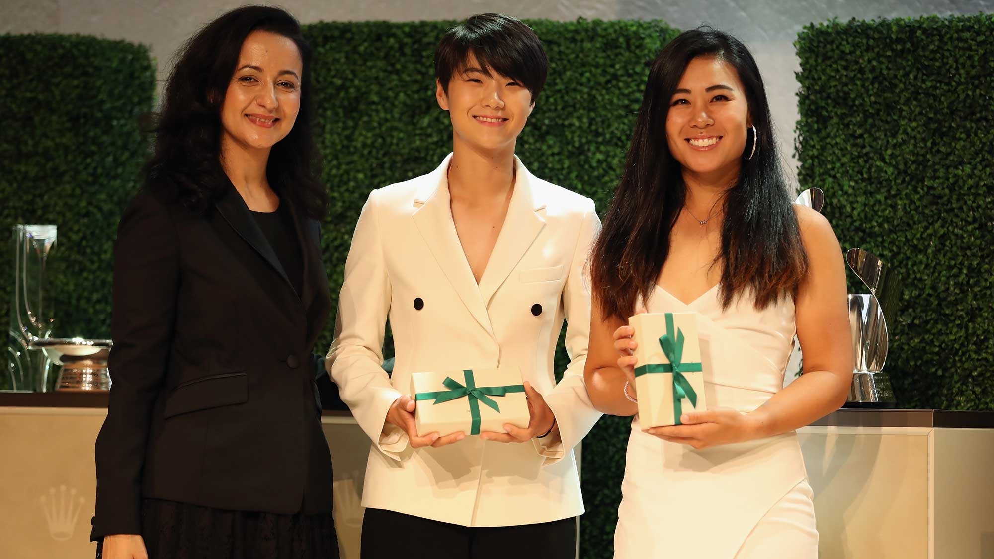 2017 Rolex First-Time Winners Sung Hyun Park of Korea (C) and Danielle Kang of the United States (R) pose during the LPGA Rolex Players Awards at The Ritz-Carlton Golf Resort