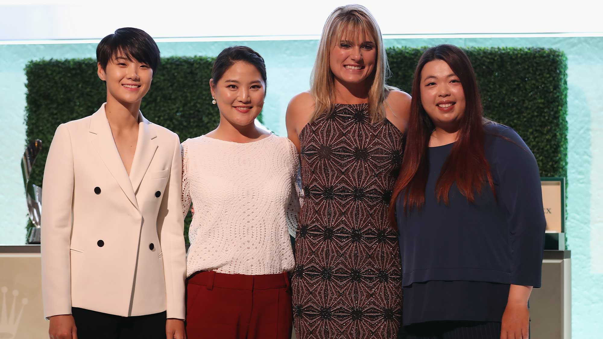 (L-R) Sung Hyun Park of Korea, So Yeon Ryu of Korea, Lexi Thompson of the United States and Shanshan Feng of China pose during the LPGA Rolex Players Awards at The Ritz-Carlton Golf Resort
