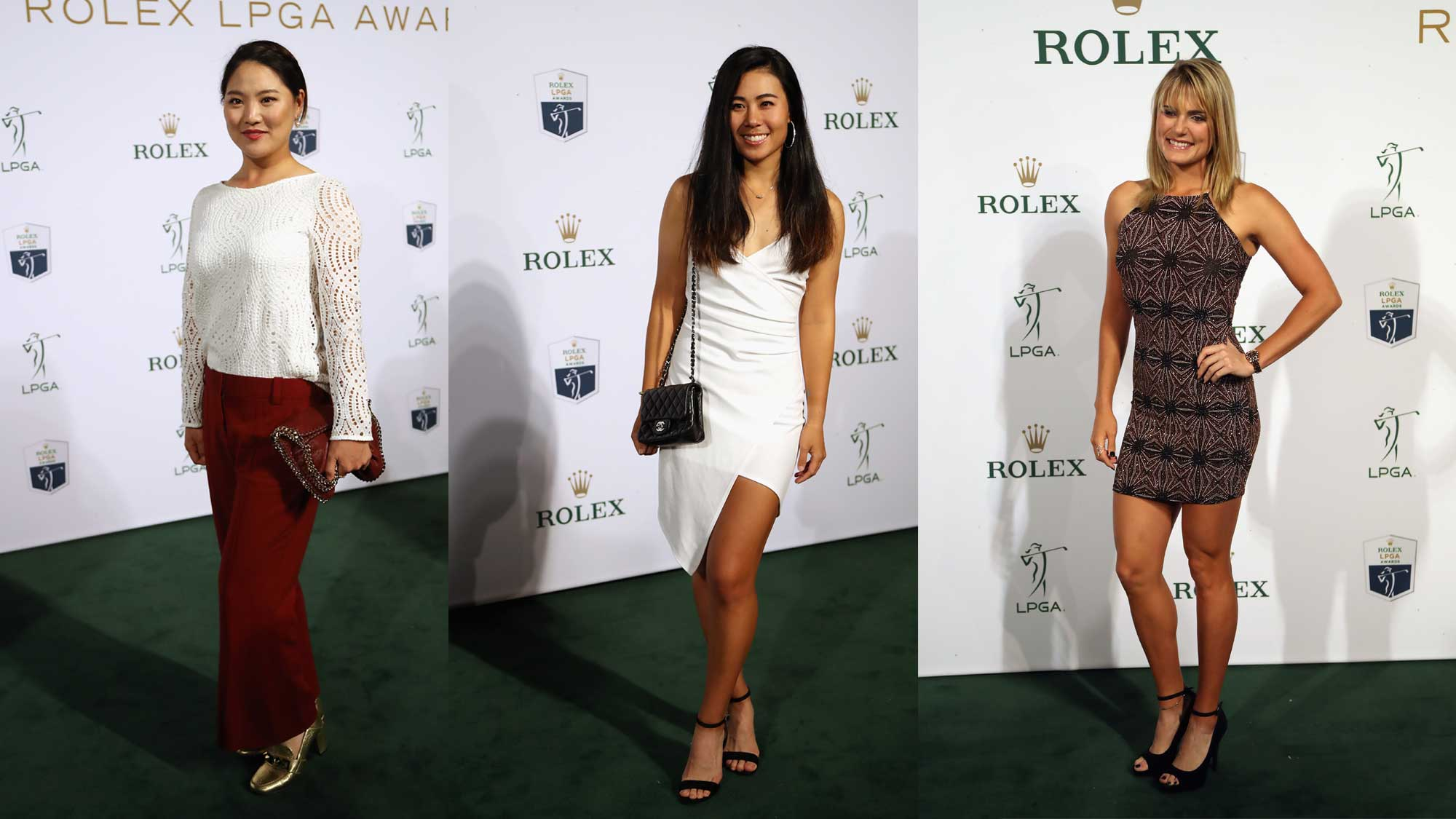 So Yeon Ryu (L), Danielle Kang (C) and Lexi Thompson arrive at the LPGA Rolex Players Awards at The Ritz-Carlton Golf Resort