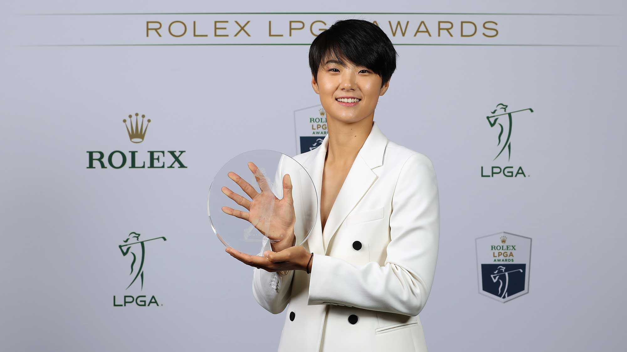 Louise Suggs Rolex Rookie of the Year award recipient Sung Hyun Park of Korea poses for a portrait during the LPGA Rolex Players Awards at The Ritz-Carlton Golf Resort