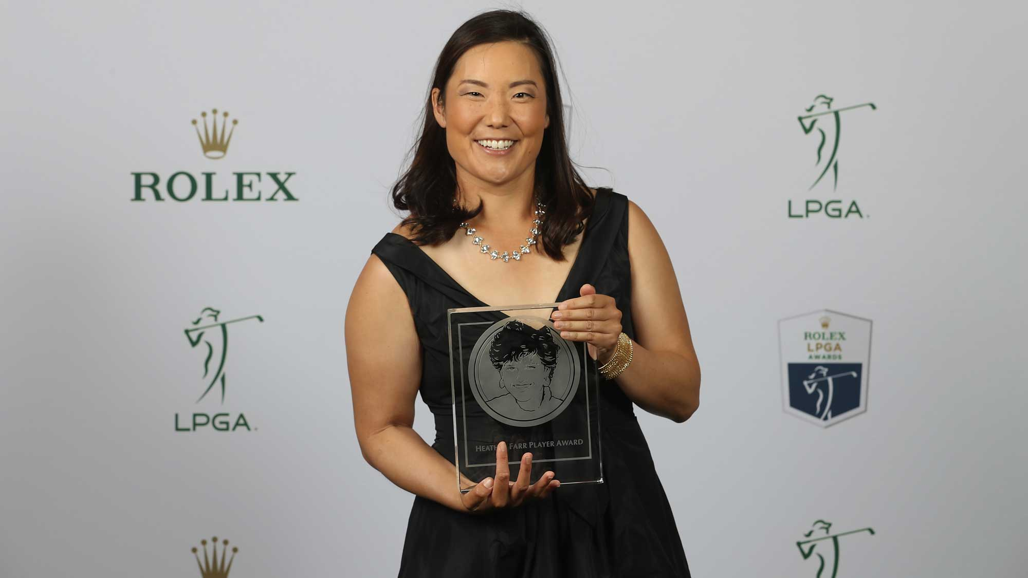 Heather Farr Perseverance Award recipient Tiffany Joh of the United States poses for a portrait during the LPGA Rolex Players Awards at The Ritz-Carlton Golf Resort