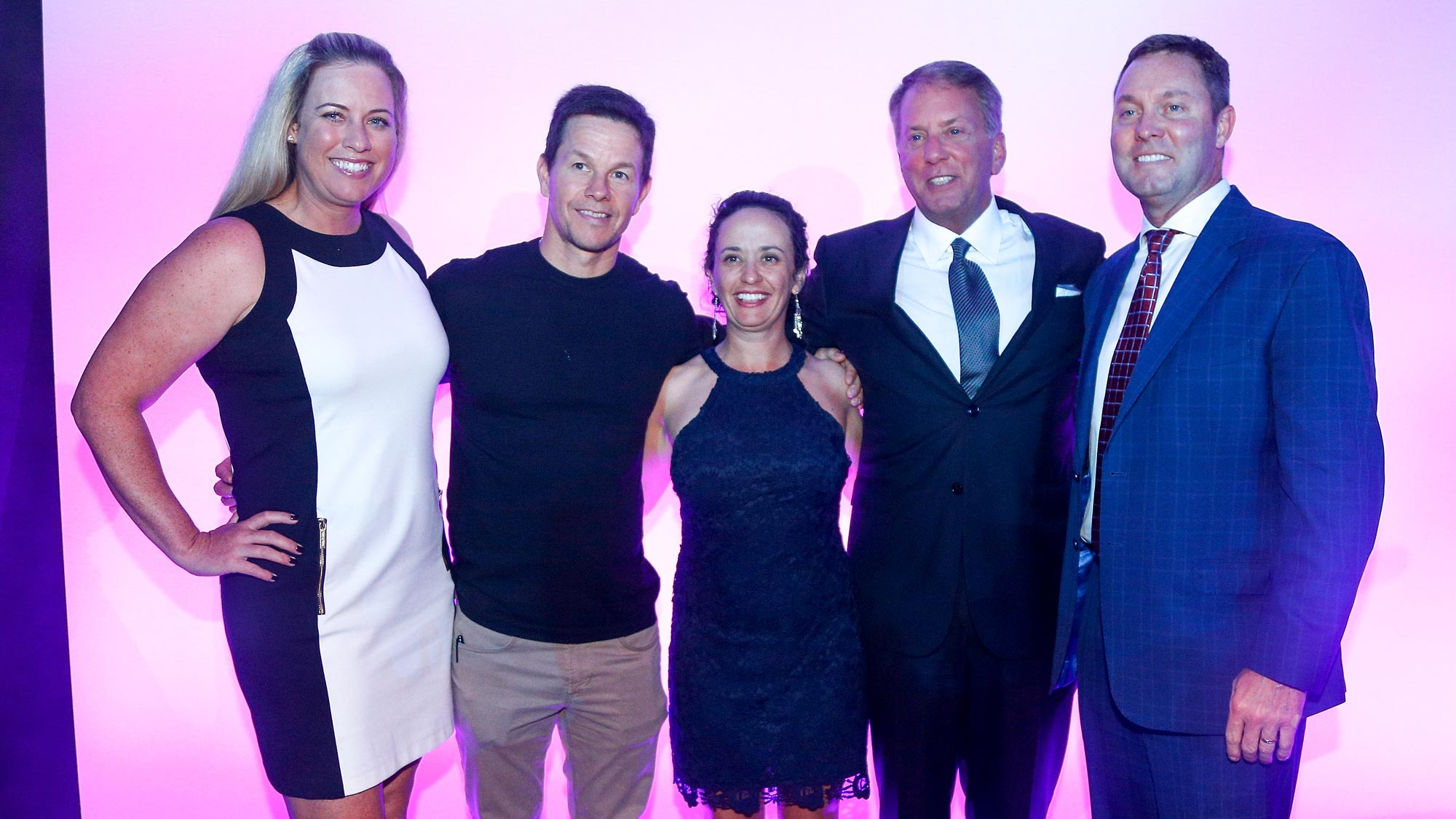 (left to right) LPGA golfer Brittany Lincicome, Actor Mark Wahlberg, LPGA golfer Mo Martin, CME Group Chairman and CEO Terry Duffy and LPGA commissioner Michael Whan pose for a photo after changes for the 2019 LPGA CME Group Tour Championship were announced at the Ritz Carlton Hotel