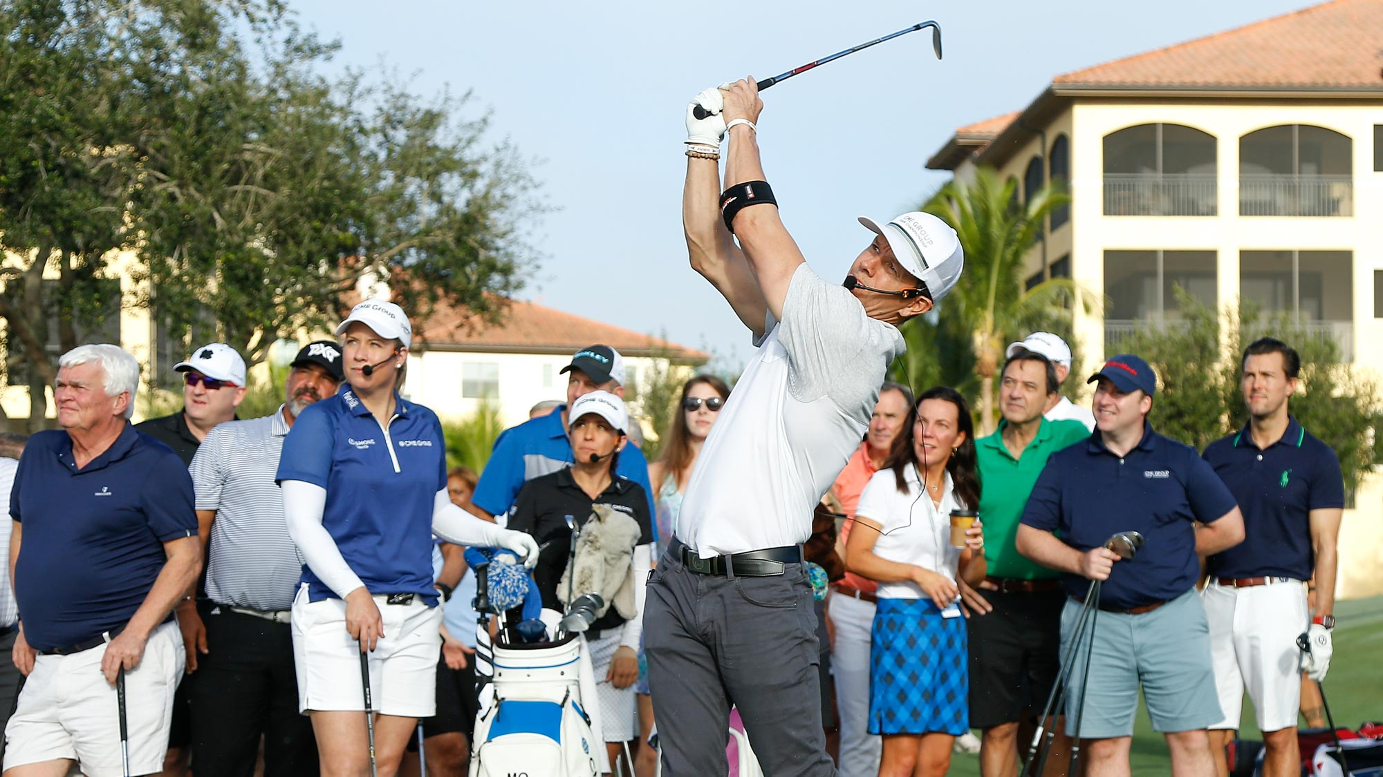 Actor Mark Wahlberg plays a shot during the CME Group charity event to benefit St. Jude Children's Research Hospital prior to the LPGA CME Group Tour Championship