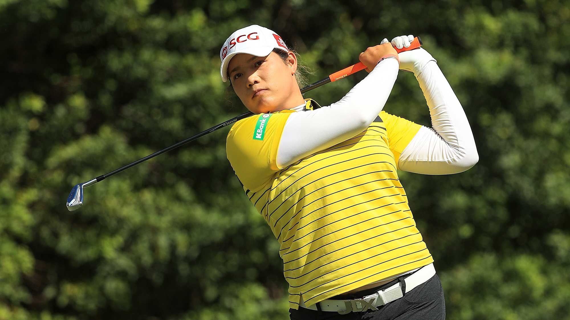 Ariya Jutanugarn of Thailand plays her shot from the seventh tee during the first round of the CME Group Tour Championship