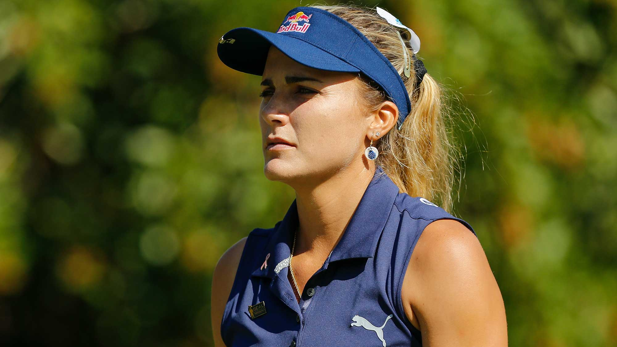 Lexi Thompson looks on from the seventh tee during the first round of the CME Group Tour Championship