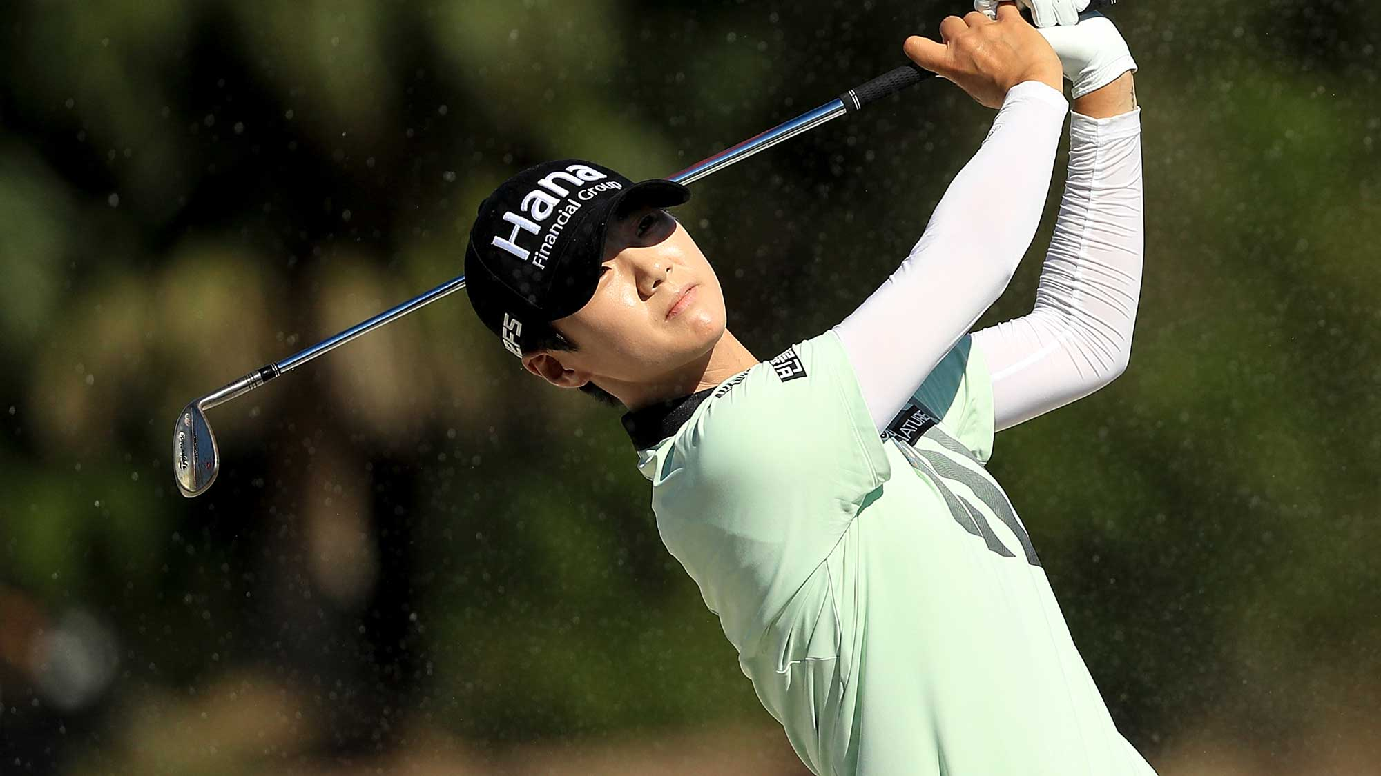 Sung Hyun Park of Korea plays her second shot on the ninth hole during the first round of the CME Group Tour Championship