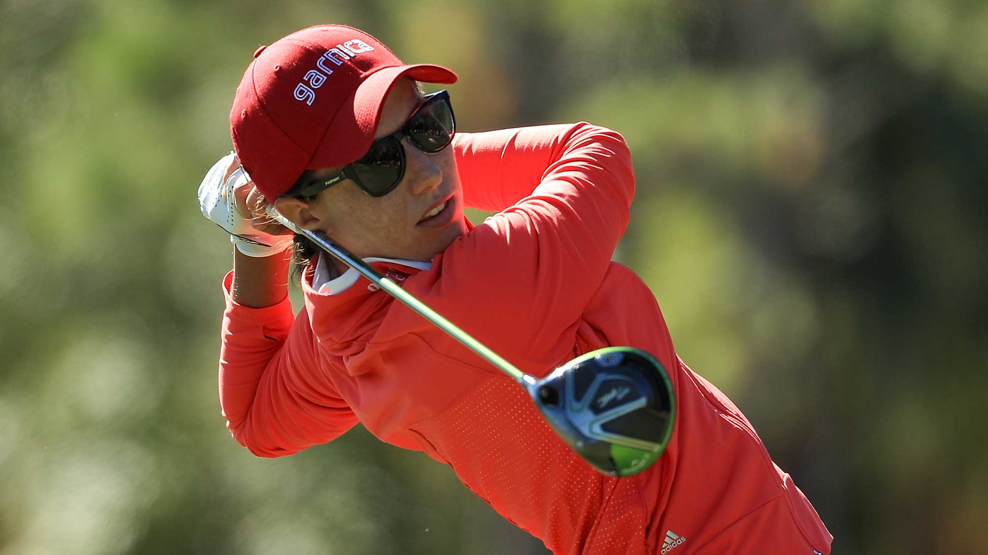 Carlota Ciganda of Spain plays her shot from the third tee during the second round of the CME Group Tour Championship