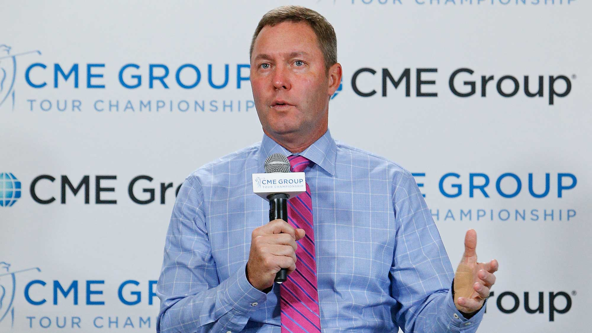 LPGA Commissioner Michael Whan address the media during State of the LPGA at the CME Group Tour Championship