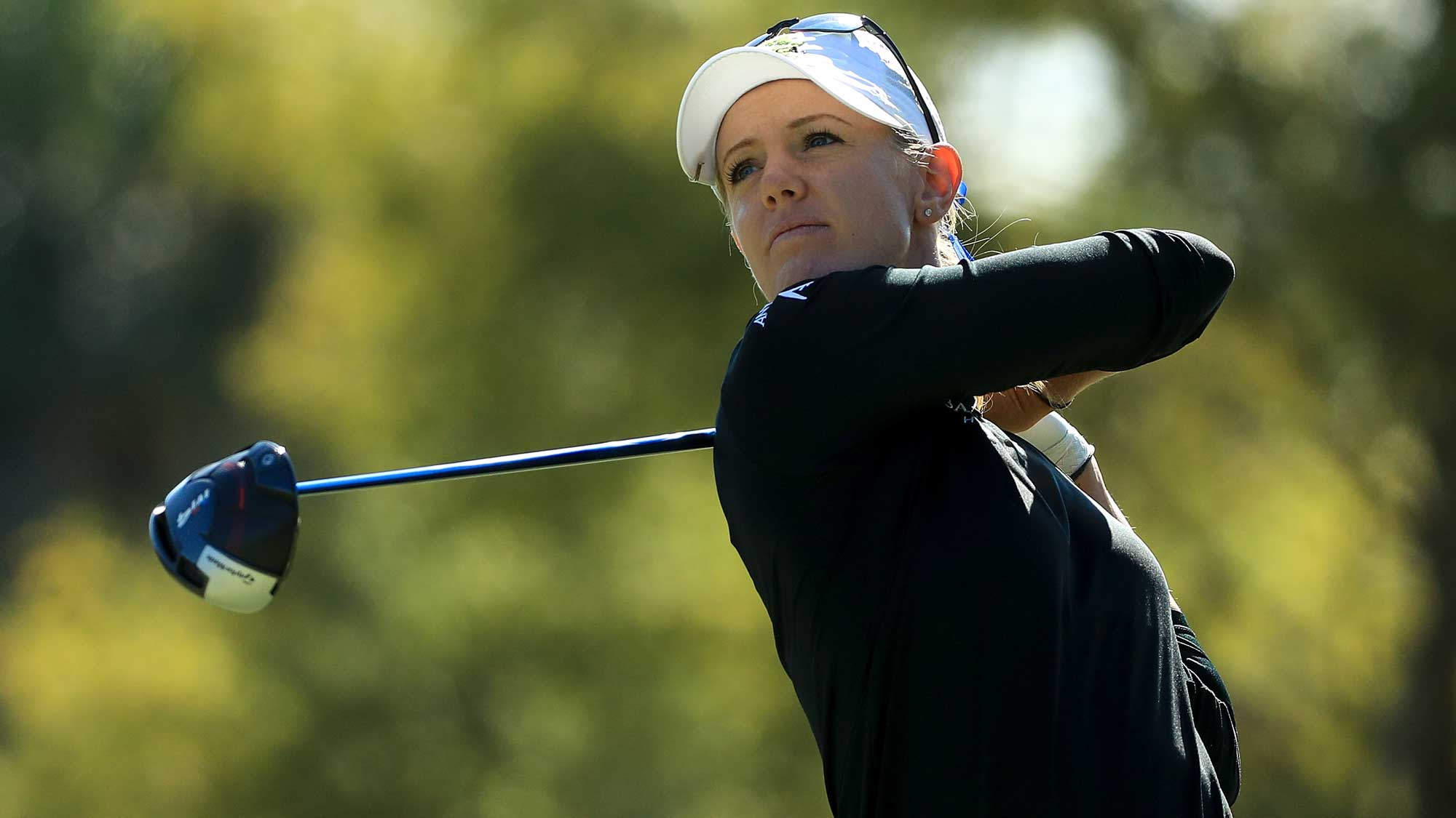 Amy Olson plays her shot from the third tee during the third round of the LPGA CME Group Tour Championship
