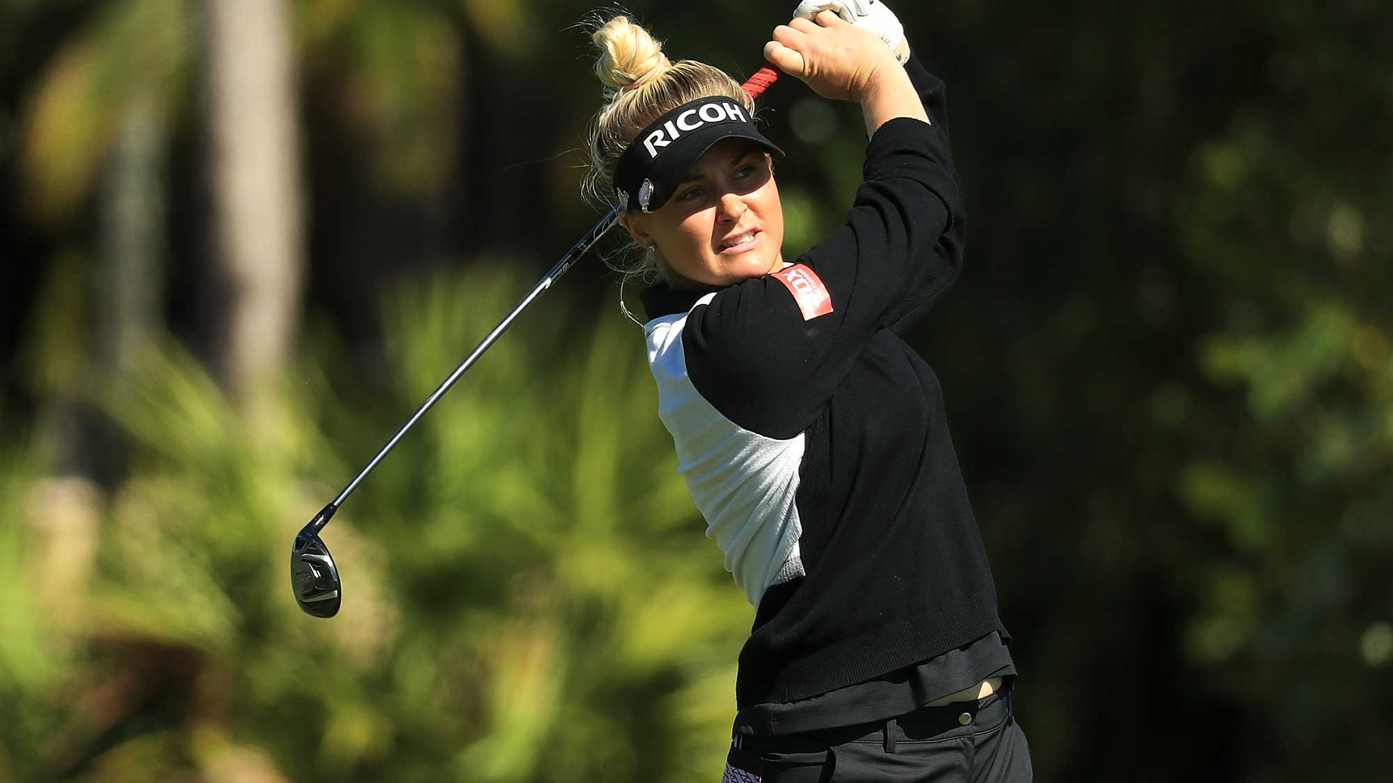 Charley Hull of England plays her second shot on the sixth hole during the third round of the LPGA CME Group Tour Championship