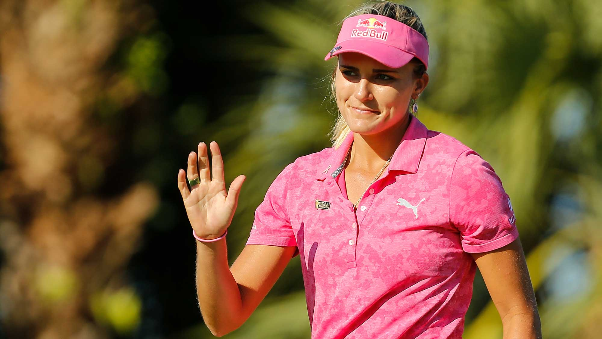 Lexi Thompson reacts on the 15th green during the third round of the LPGA CME Group Tour Championship