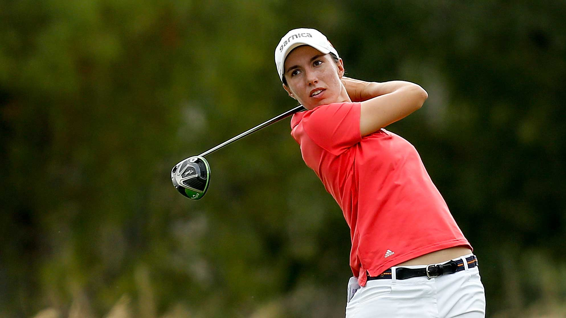 Carlota Ciganda of Spain plays her shot from the third tee during the final round of the on LPGA CME Group Tour Championship