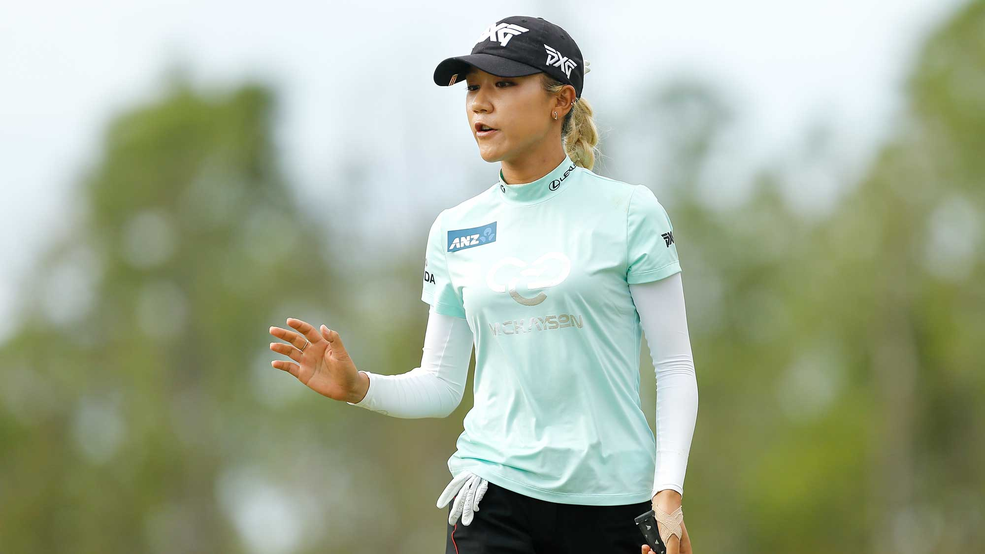 Lydia Ko of New Zealand reacts after a putt on the first green during the final round of the LPGA CME Group Tour Championship