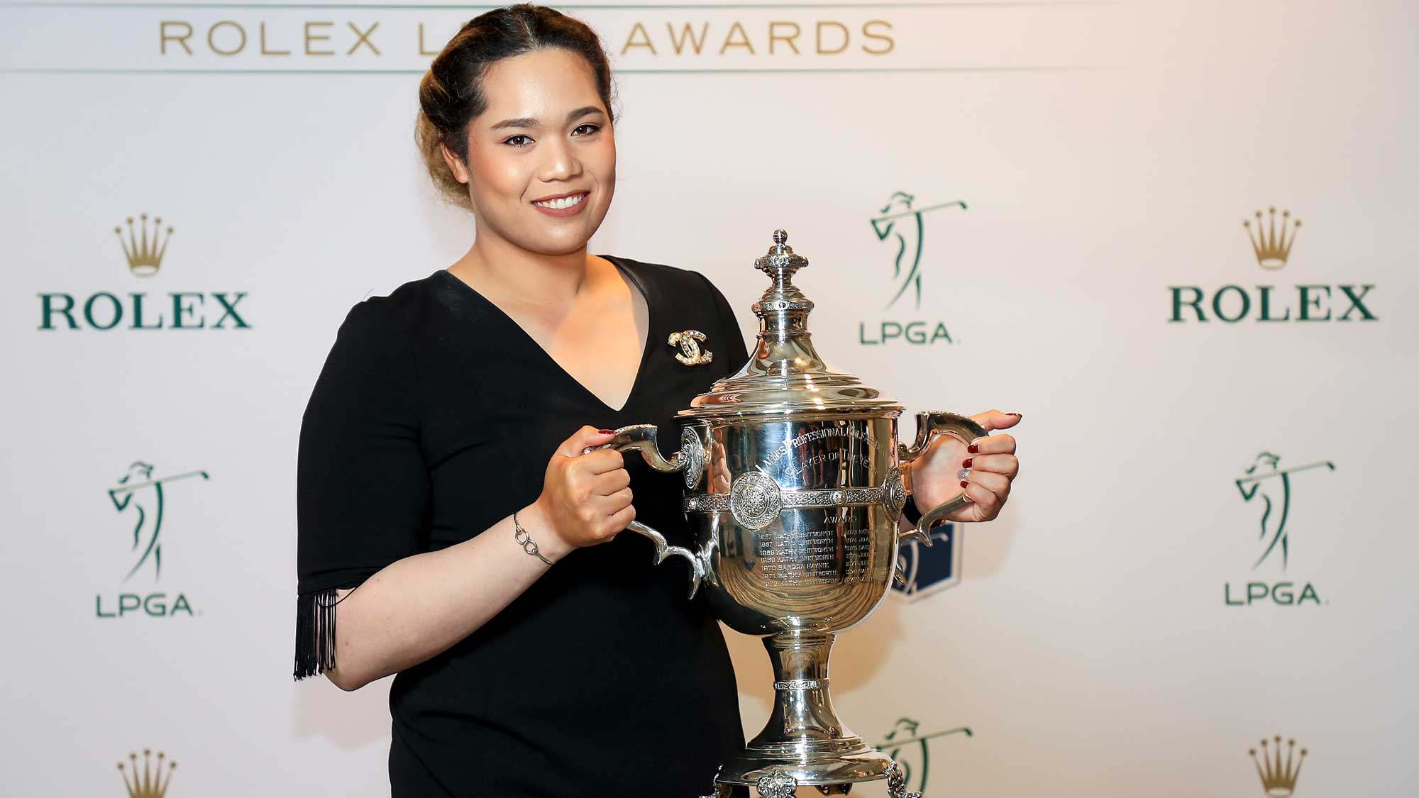 Ariya Jutanugarn of Thailand poses with the Rolex Player of the Year trophy after the LPGA Rolex Players Awards at the Ritz-Carlton Golf Resort