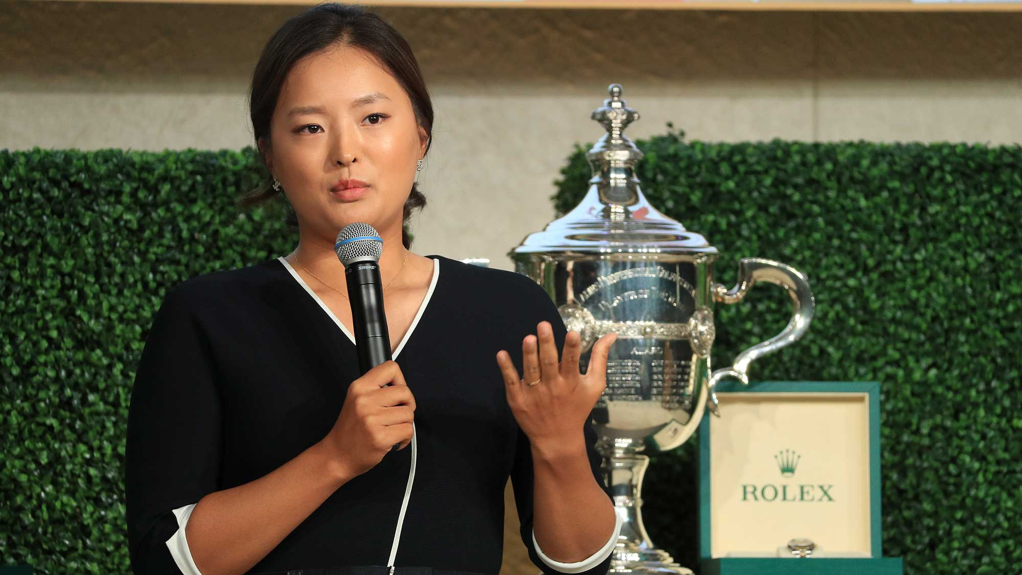 Jin Young Ko of South Korea is presented iwth the Louise Suggs Rolex Rookie of the Year award during the LPGA Rolex Players Awards at the Ritz-Carlton Golf Resort