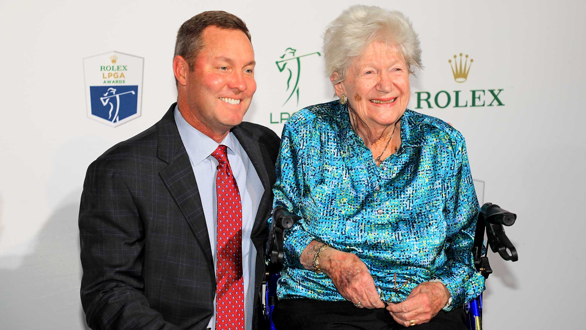 Commissioner Michael Whan (left) poses for a photo with LPGA co-founder Marilynn Smith on the green carpet during the LPGA Rolex Players Awards at the Ritz-Carlton Golf Resort