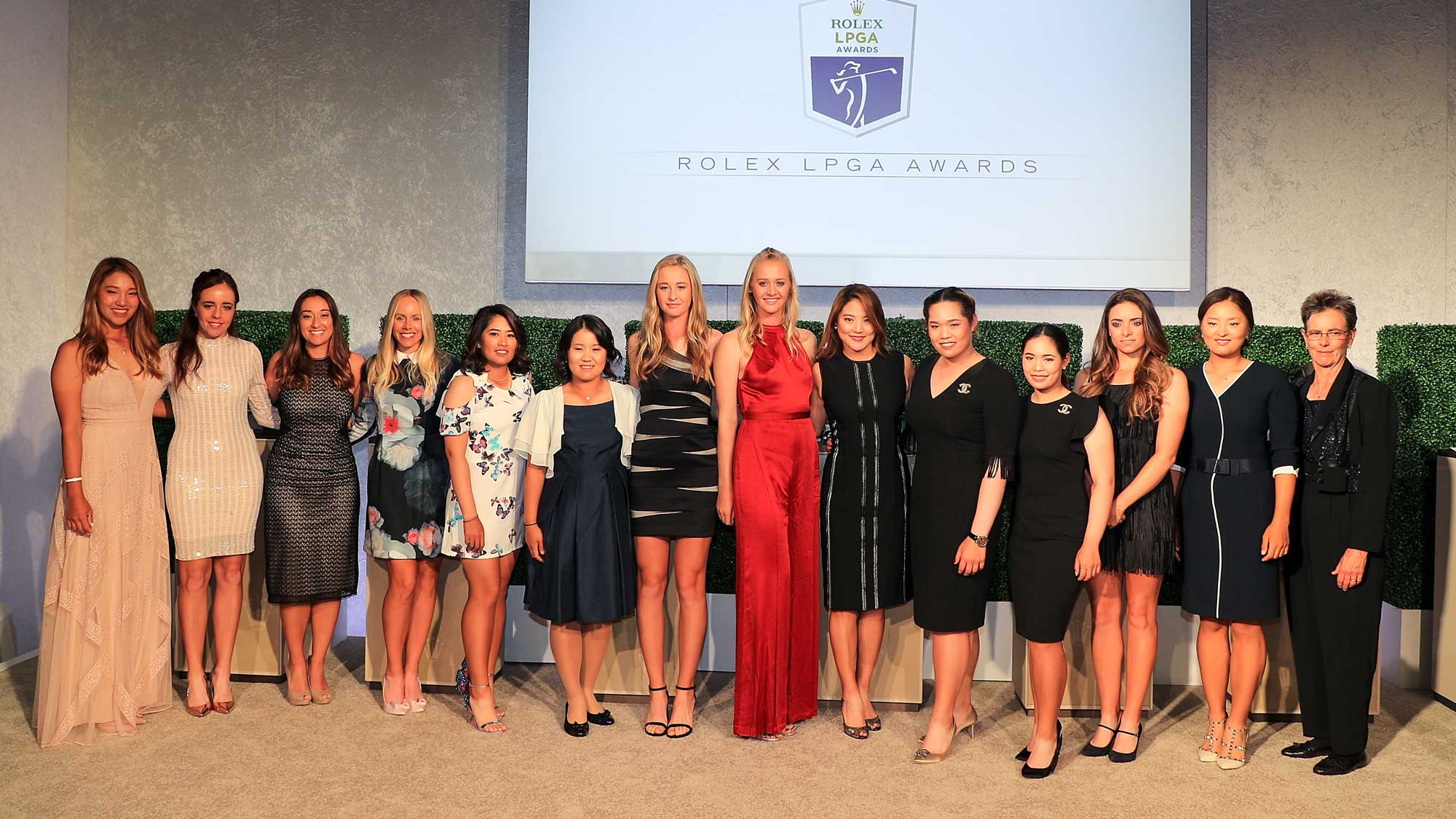 The Rolex Award winners pose for a group photo during the LPGA Rolex Players Awards at the Ritz-Carlton Golf Resort