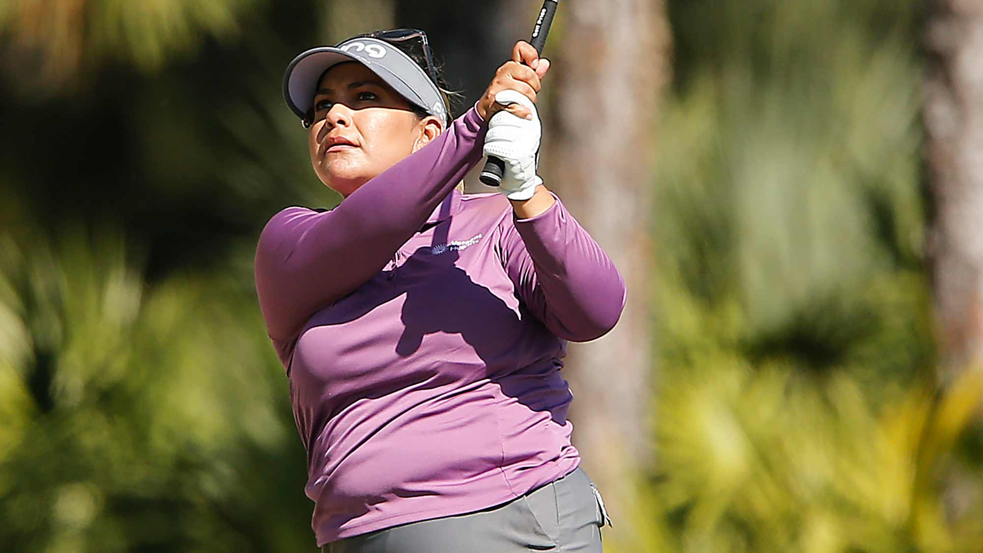 Lizette Salas of the United States plays a shot on the tenth hole during the first round of the CME Group Tour Championship at Tiburon Golf Club on November 21, 2019 in Naples, Florida